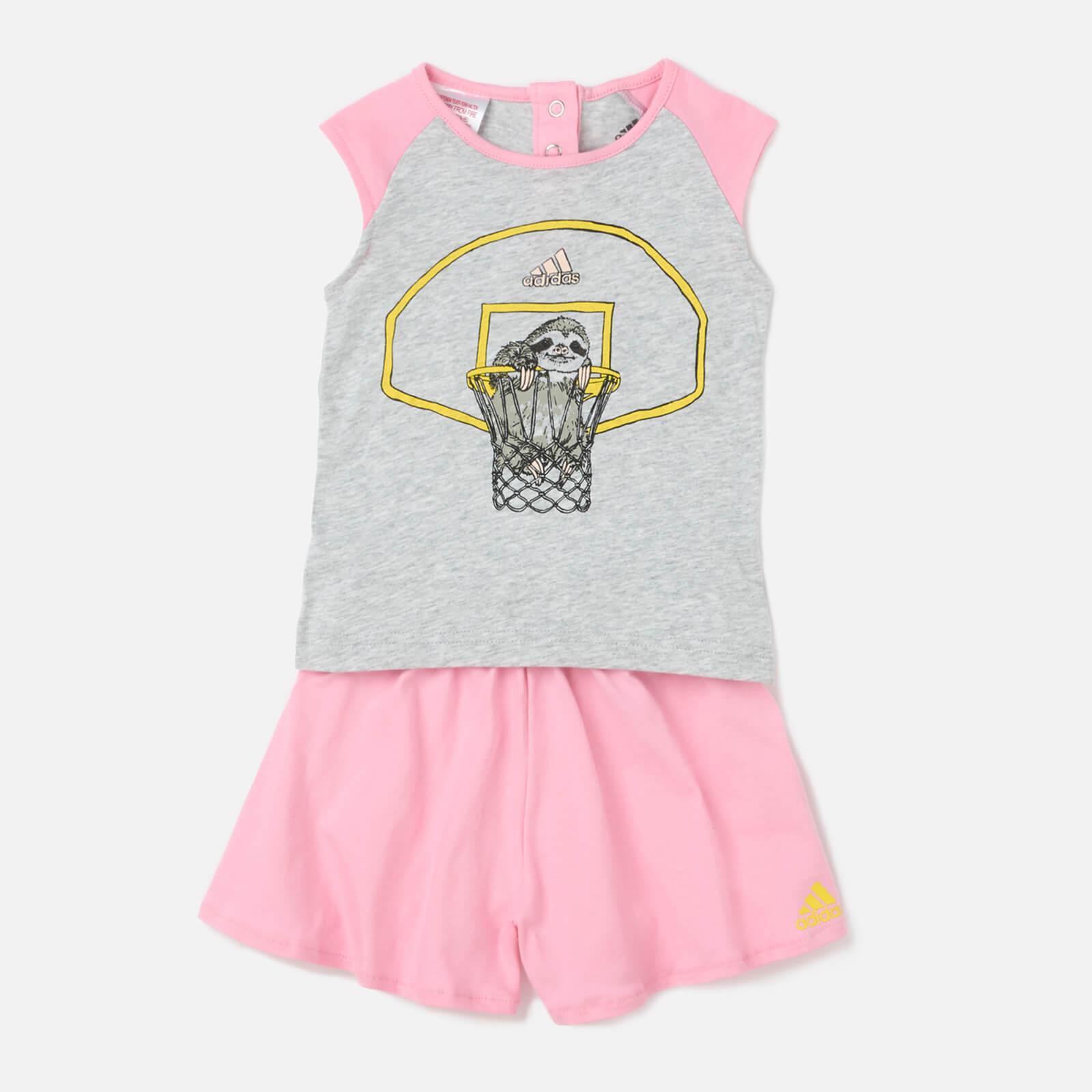 adidas Girls' Animal T-Shirt Set - Grey - 6-9 months - Grey
