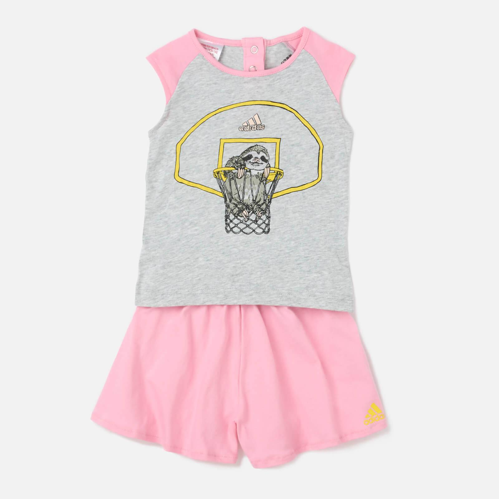 adidas Girls' Animal T-Shirt Set - Grey - 9-12 months - Grey
