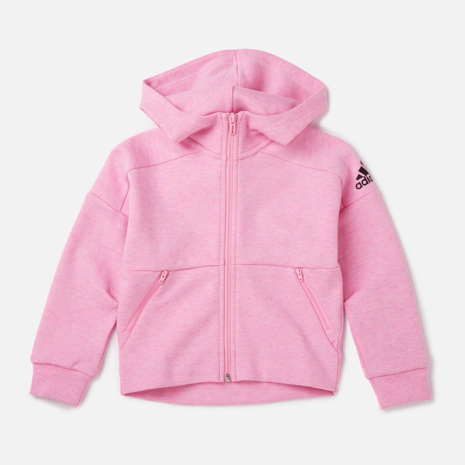adidas Young Girls' ID STA Full Zip Hoody - Pink - 7-8 Years - Pink