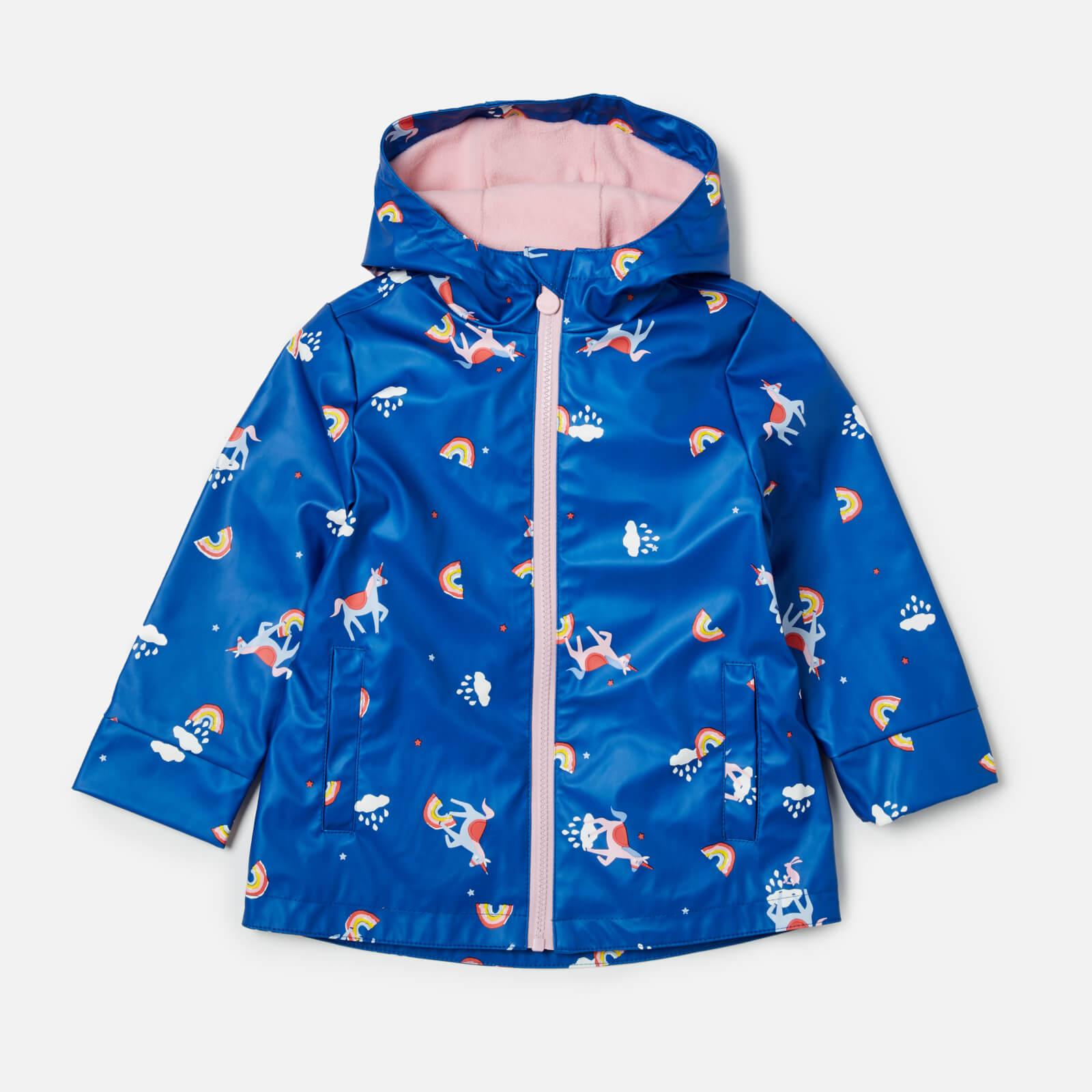 Joules Girls' Raindance Waterproof Coat - Blue Unicorn Clouds - 4 Years - Blue