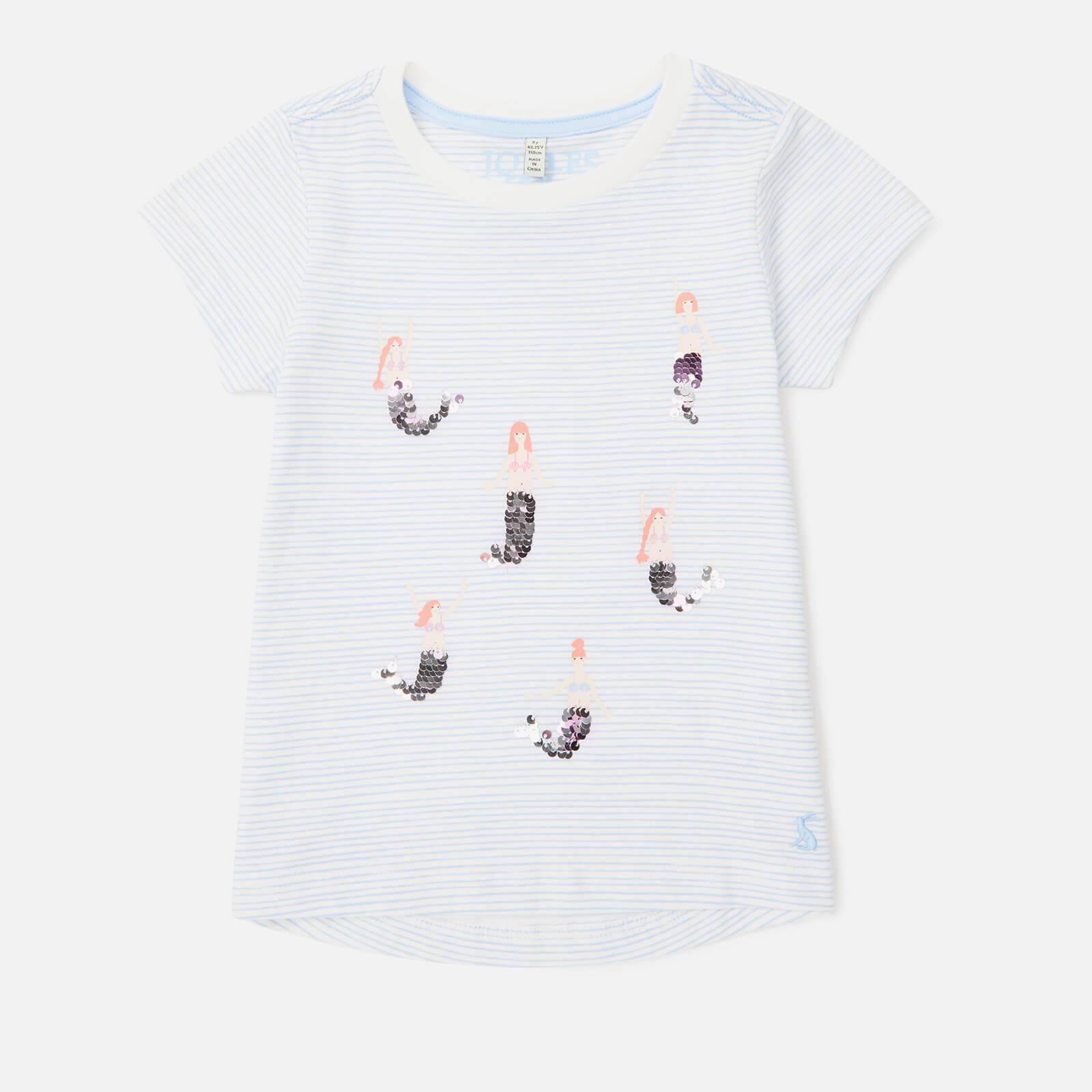 Joules Girl's Astra Jersey T-Shirt - Blue Mermaids - 7-8 Years - Blue