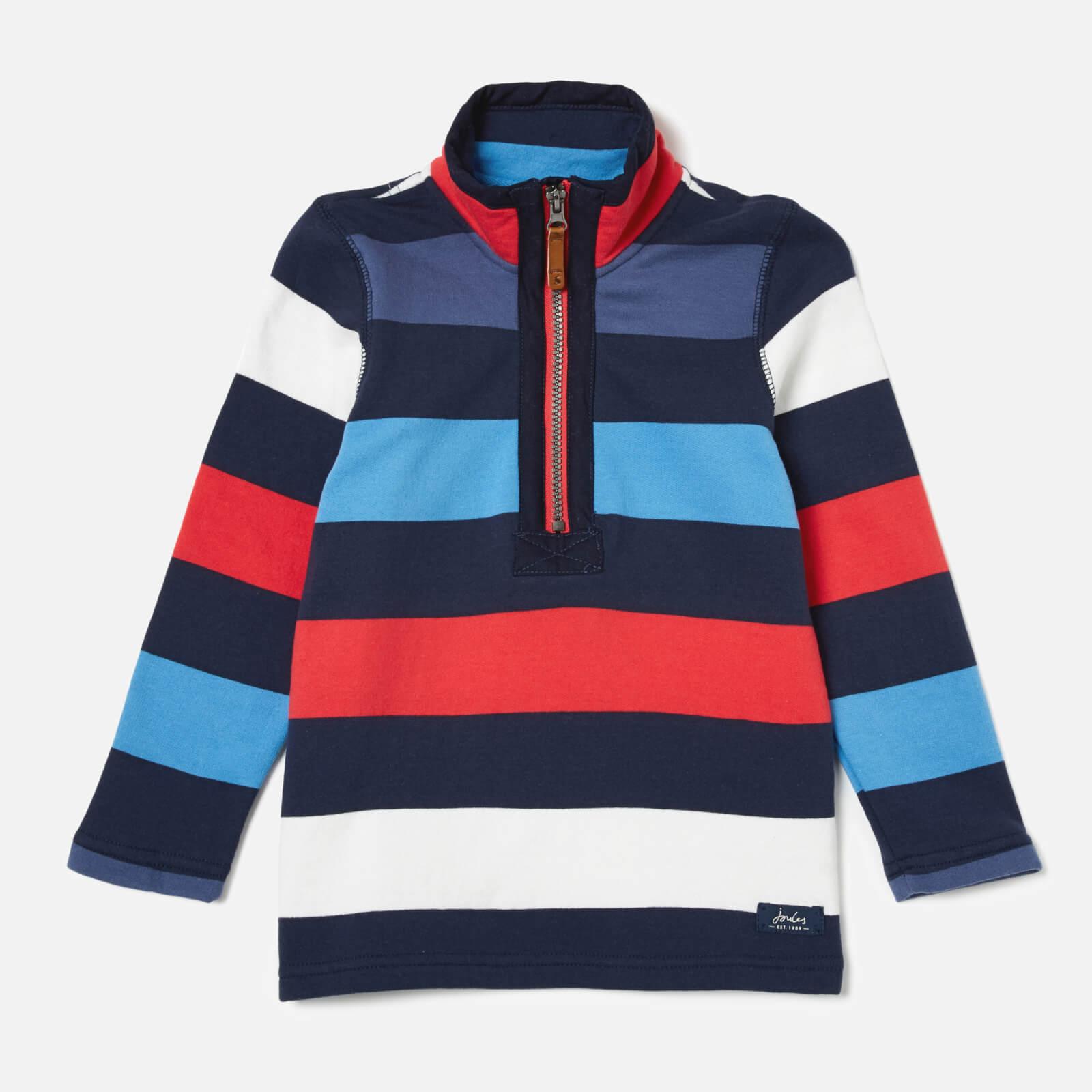 Joules Boys' Dale Half Zip Sweatshirt - Blue Red Stripe - 7-8 Years - Multi