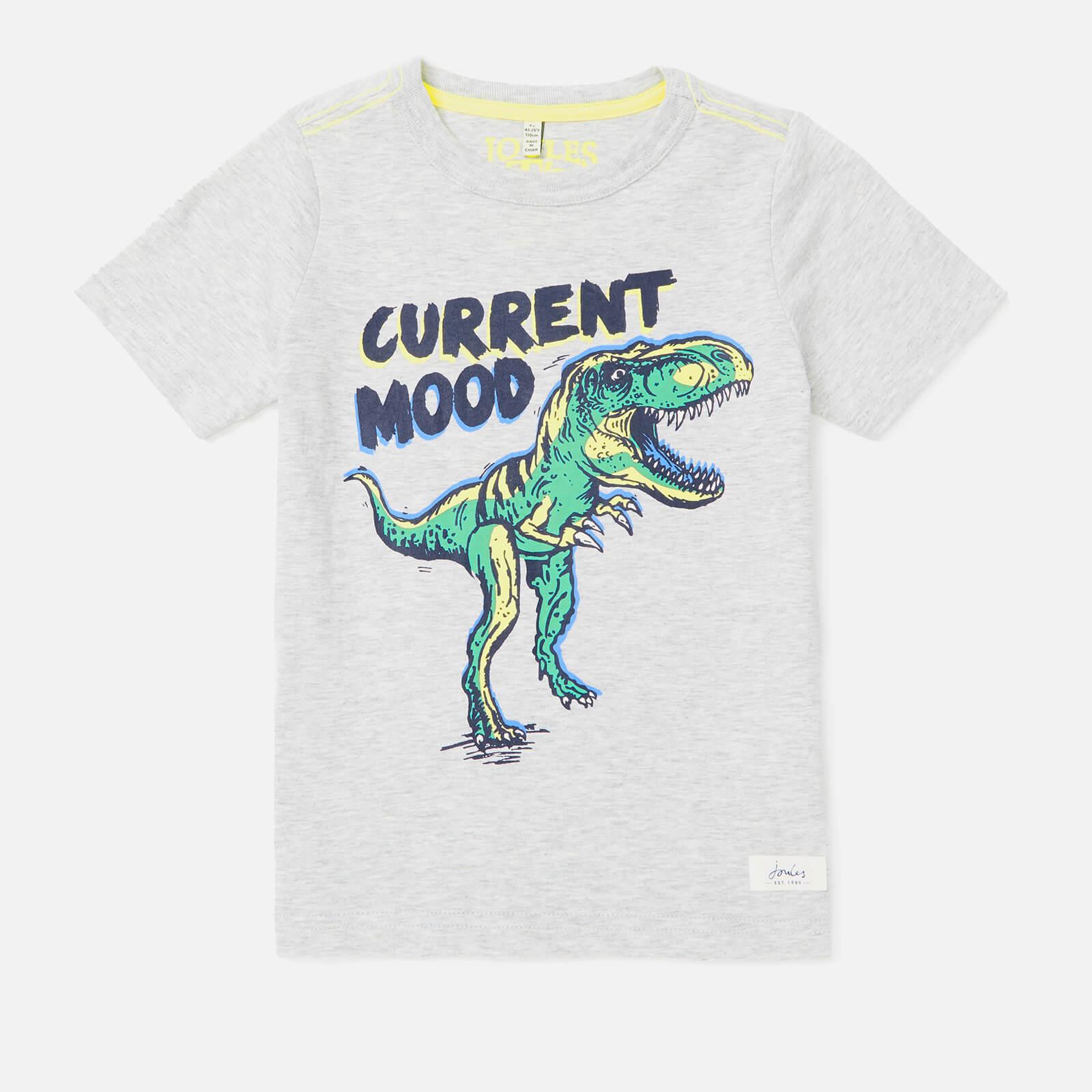 Joules Boy's Ben Printed T-Shirt - Grey Dino - 7-8 Years - Grey