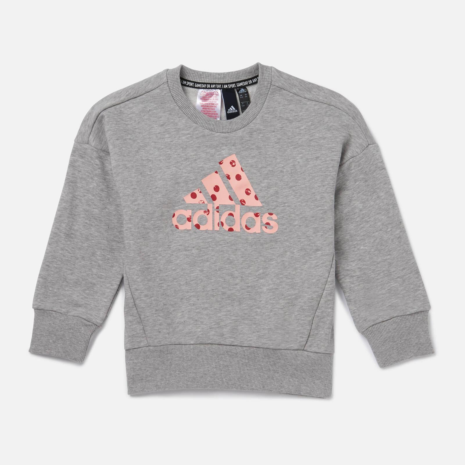 adidas Girls' Young Girls Crew Neck Sweatshirt - Grey - 7-8 Years