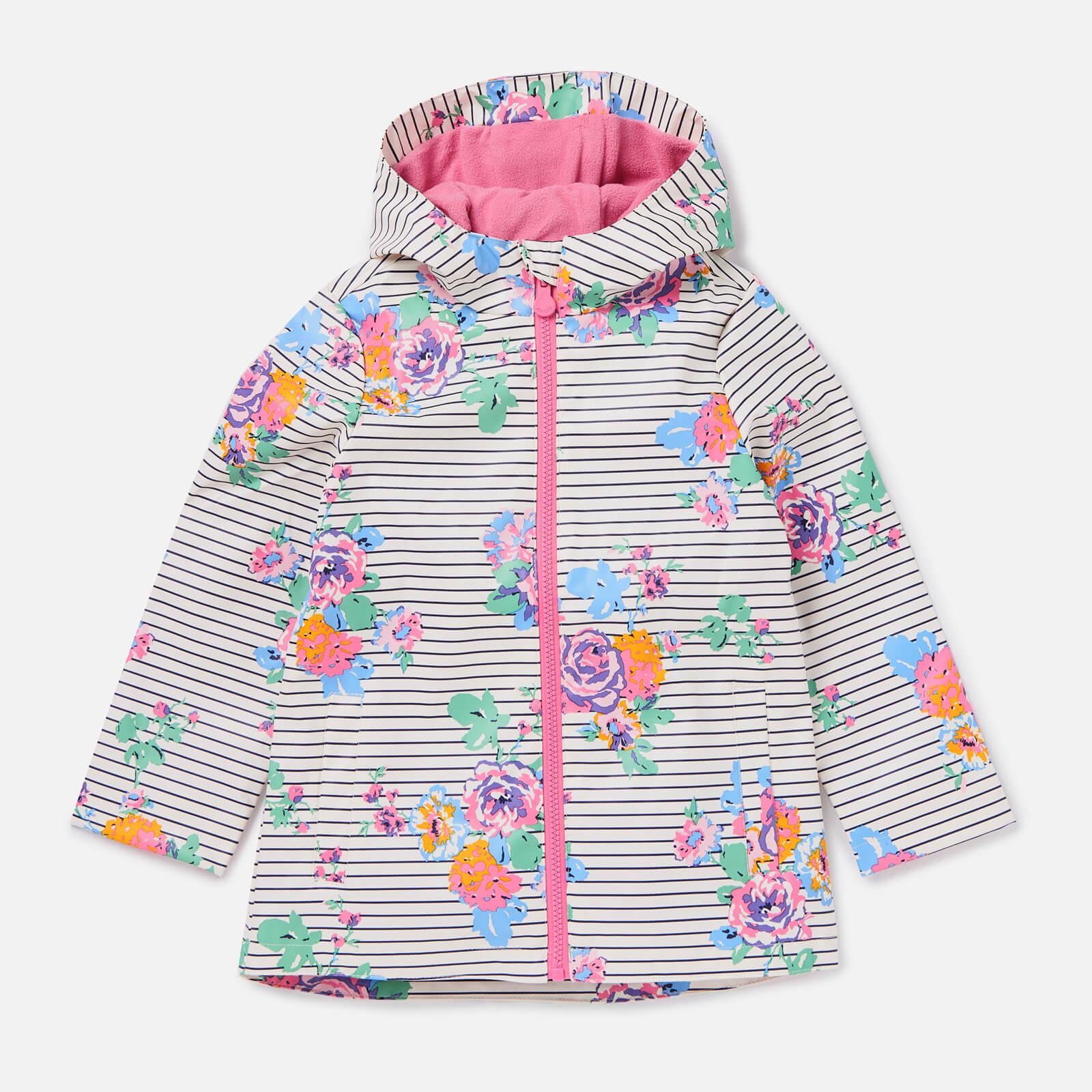 Joules Girls' Raindance Showerproof Rubber Coat - Cream Navy Floral - 4 Years