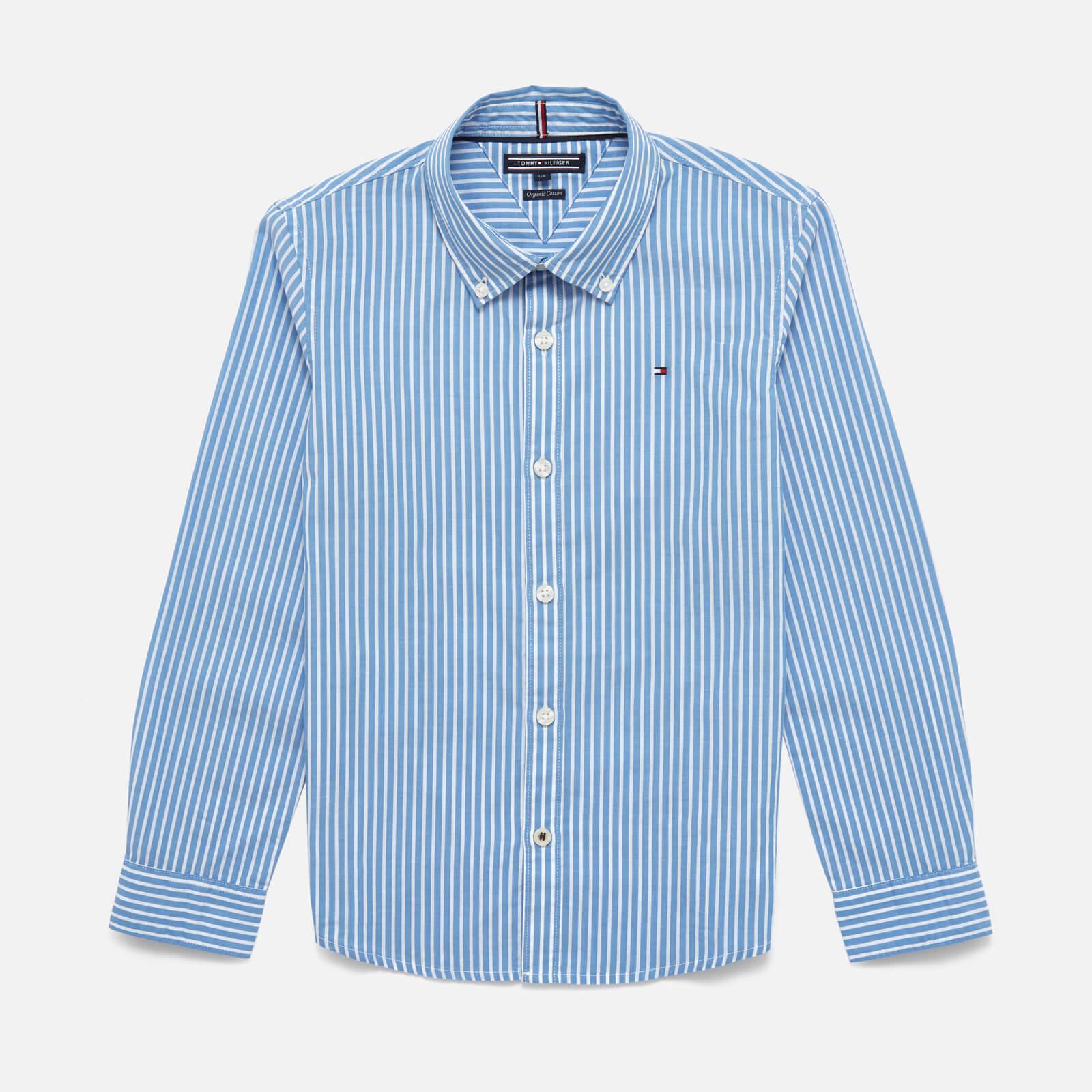 Tommy Kids Boys' Long Sleeve Stripe Shirt - Shirt Blue - 7 Years