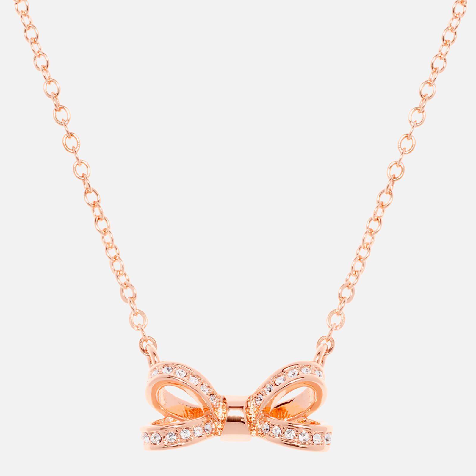 Ted Baker Women's Olessi Mini Opulent Pavé Bow Pendant - Rose Gold/Crystal