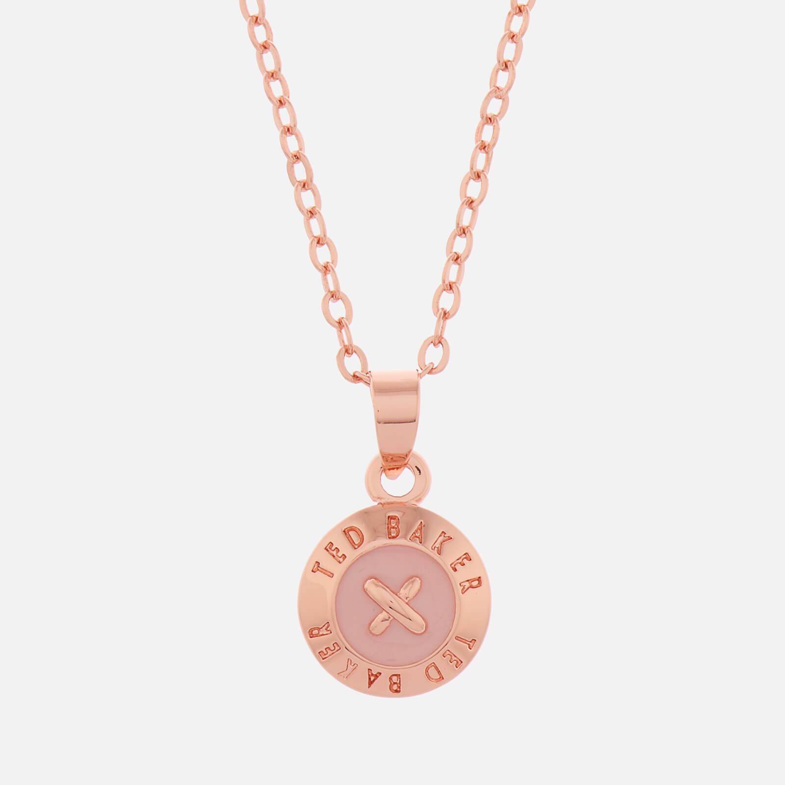 Ted Baker Women's Elvina Enamel Mini Button Pendant - Rose Gold/Baby Pink - Rose Gold
