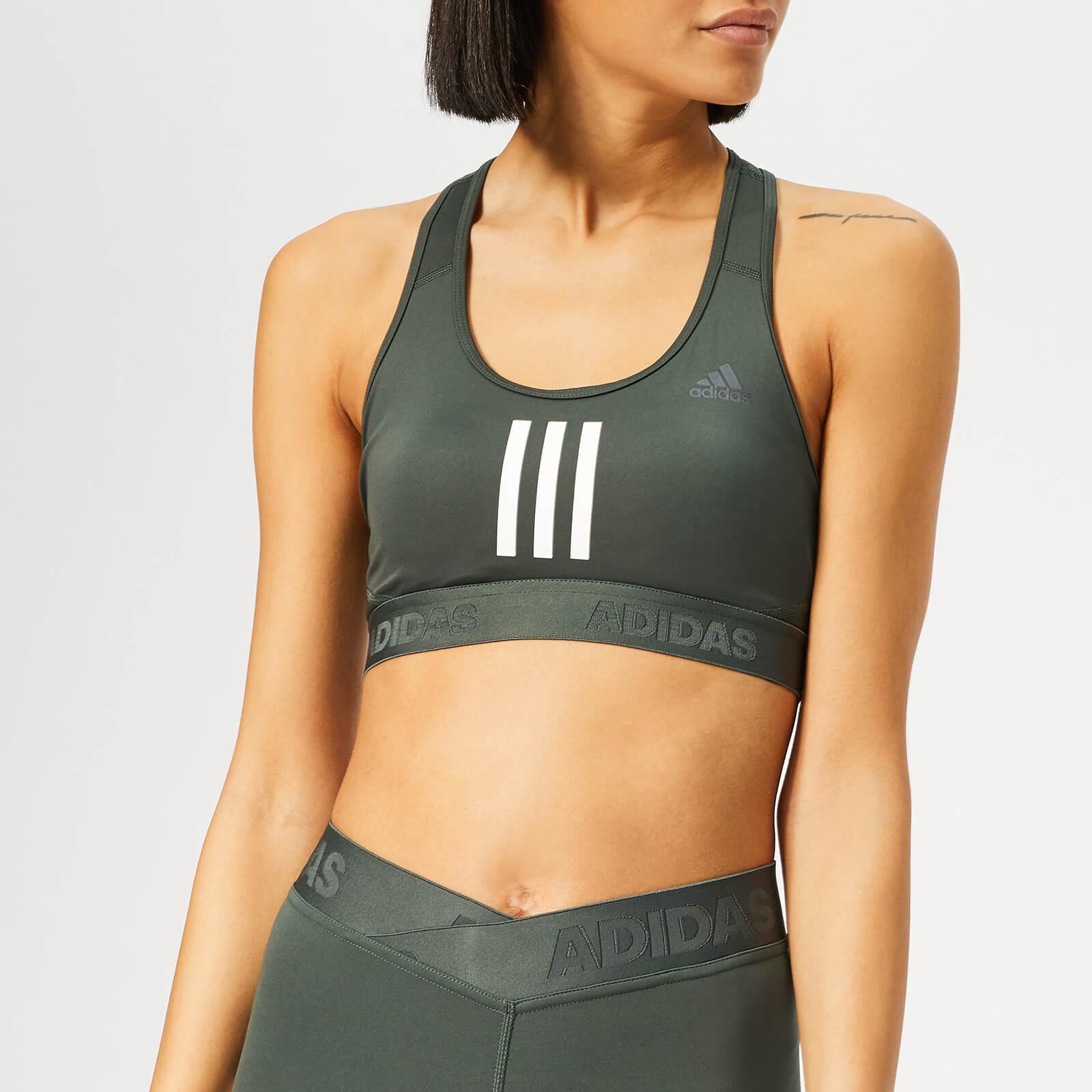 adidas Women's Don't Rest 3 Stripes Bra - Legend Ivy - S - Green