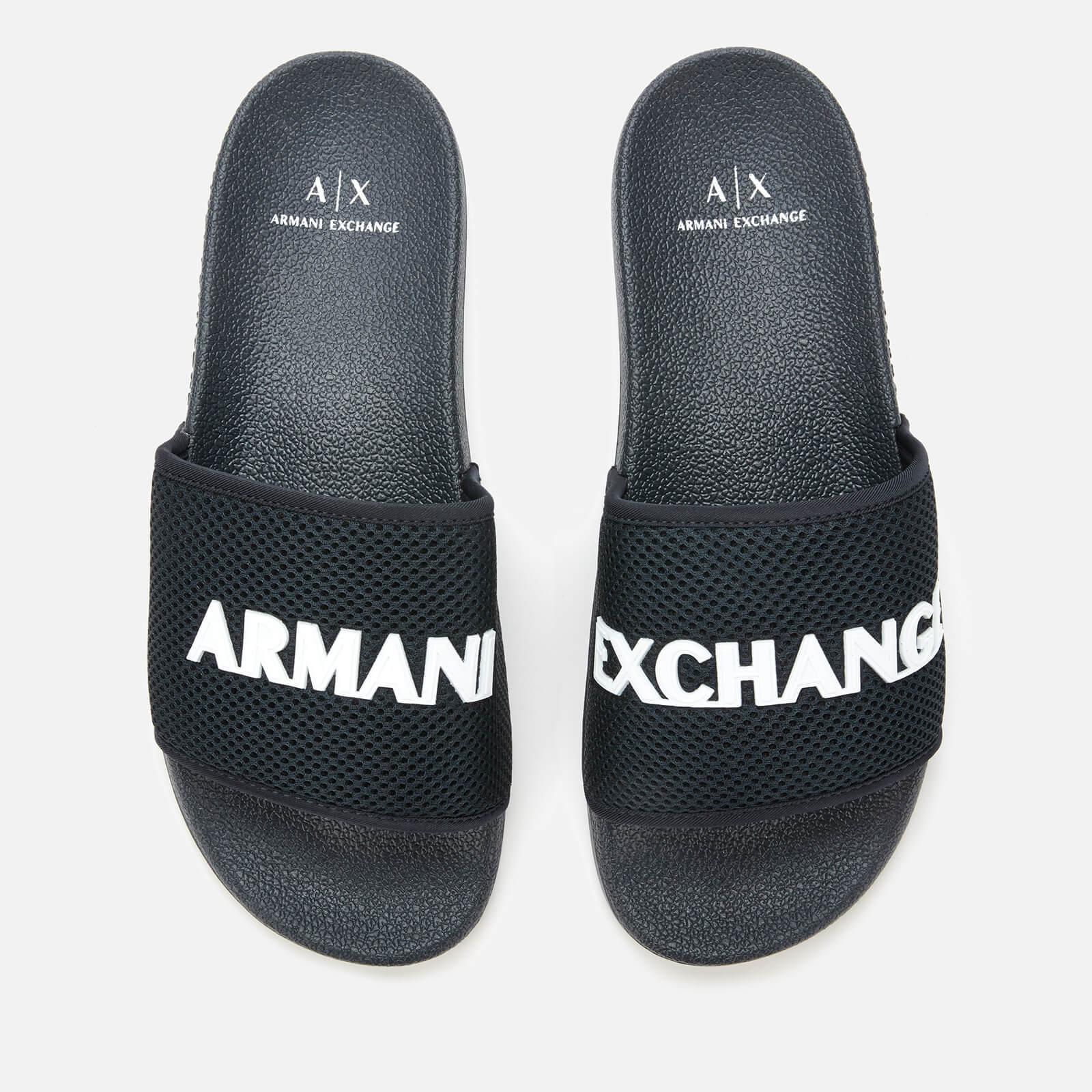 Armani Exchange Men's Slide Sandals - Blue/Optical White - UK 11