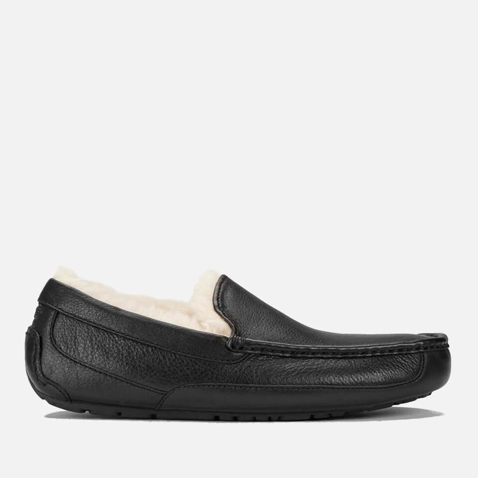 UGG Men's Ascot Grain Leather Slippers - Black - UK 10