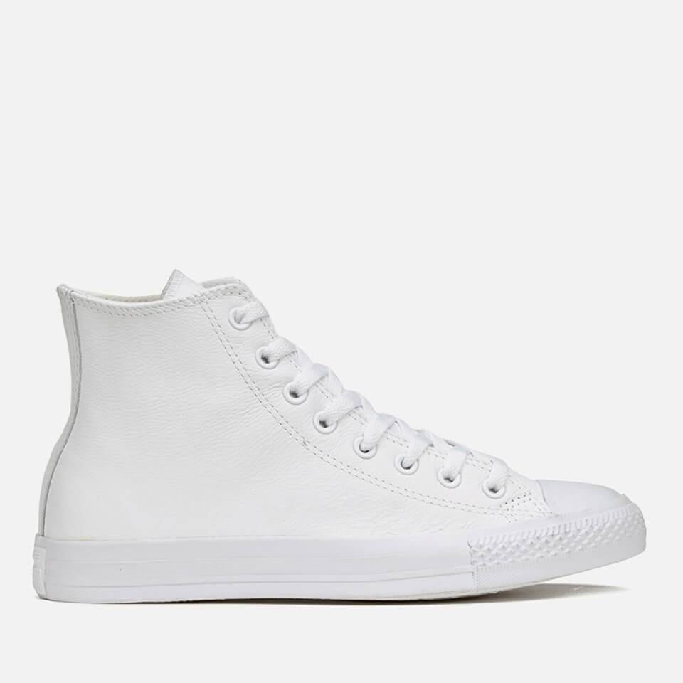 Converse Chuck Taylor All Star Leather Hi-Top Trainers - White Monochrome - UK 9