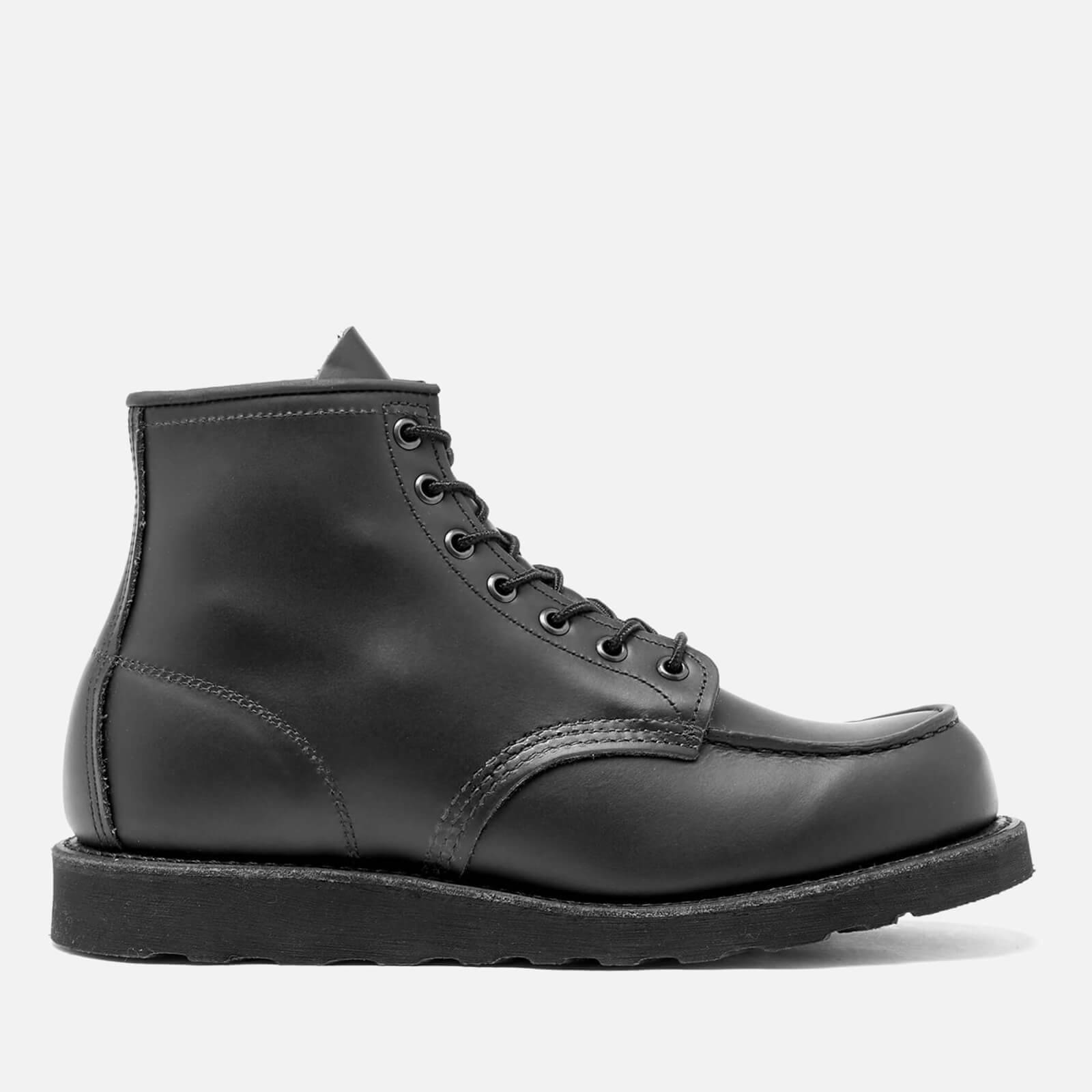Red Wing Men's 6 Inch Moc Toe Leather Lace Up Boots - Black Chrome - UK 11/US 12