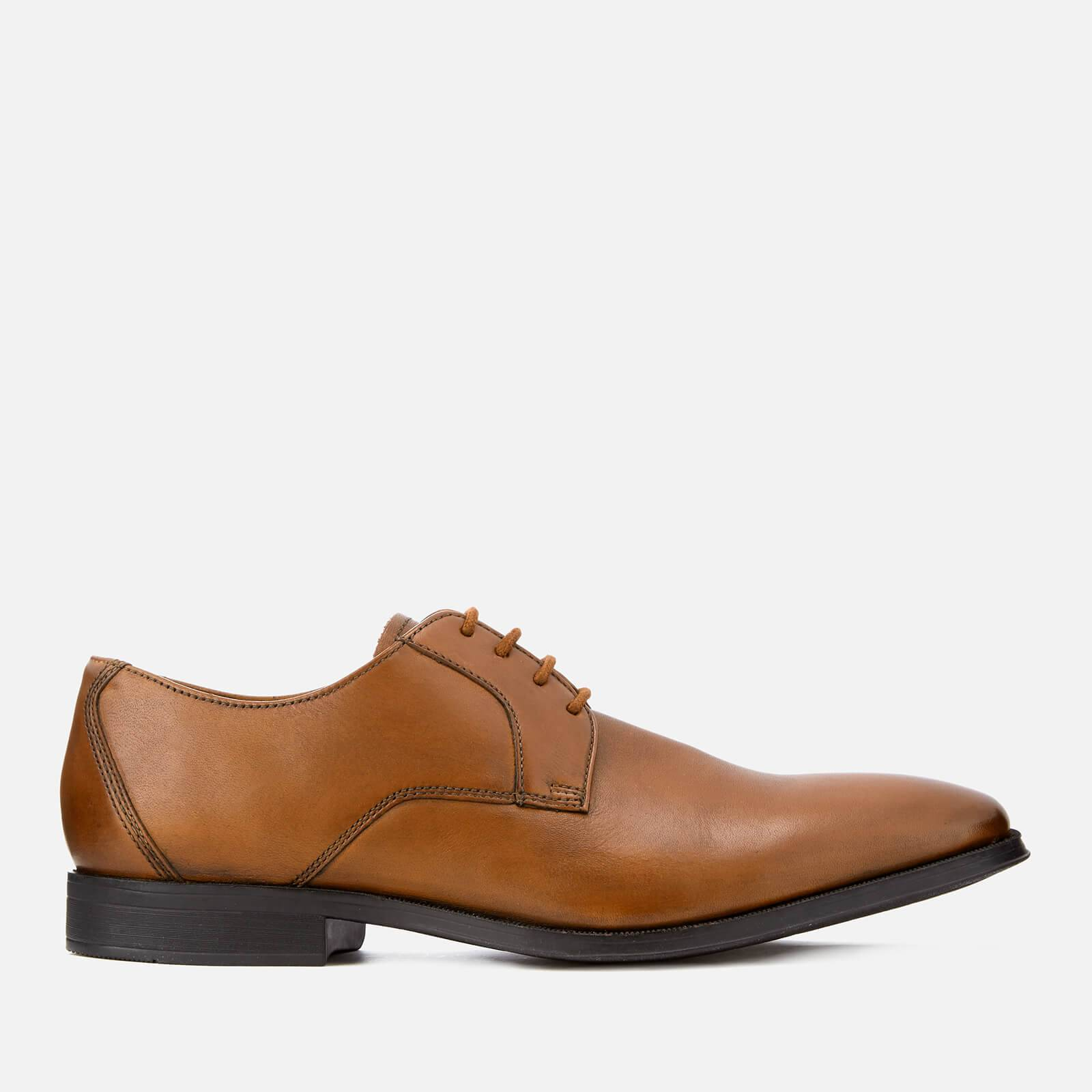 Clarks Men's Gilman Lace Leather Derby Shoes - Dark Tan - UK 11 - Tan