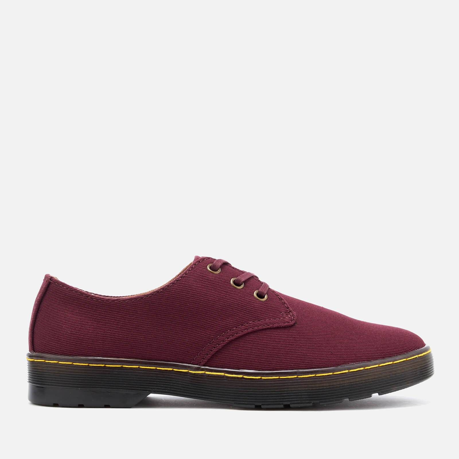 Dr. Martens Men's Delray Overdyed Twill Canvas Lace Shoes - Oxblood - UK 6.5 - Burgundy
