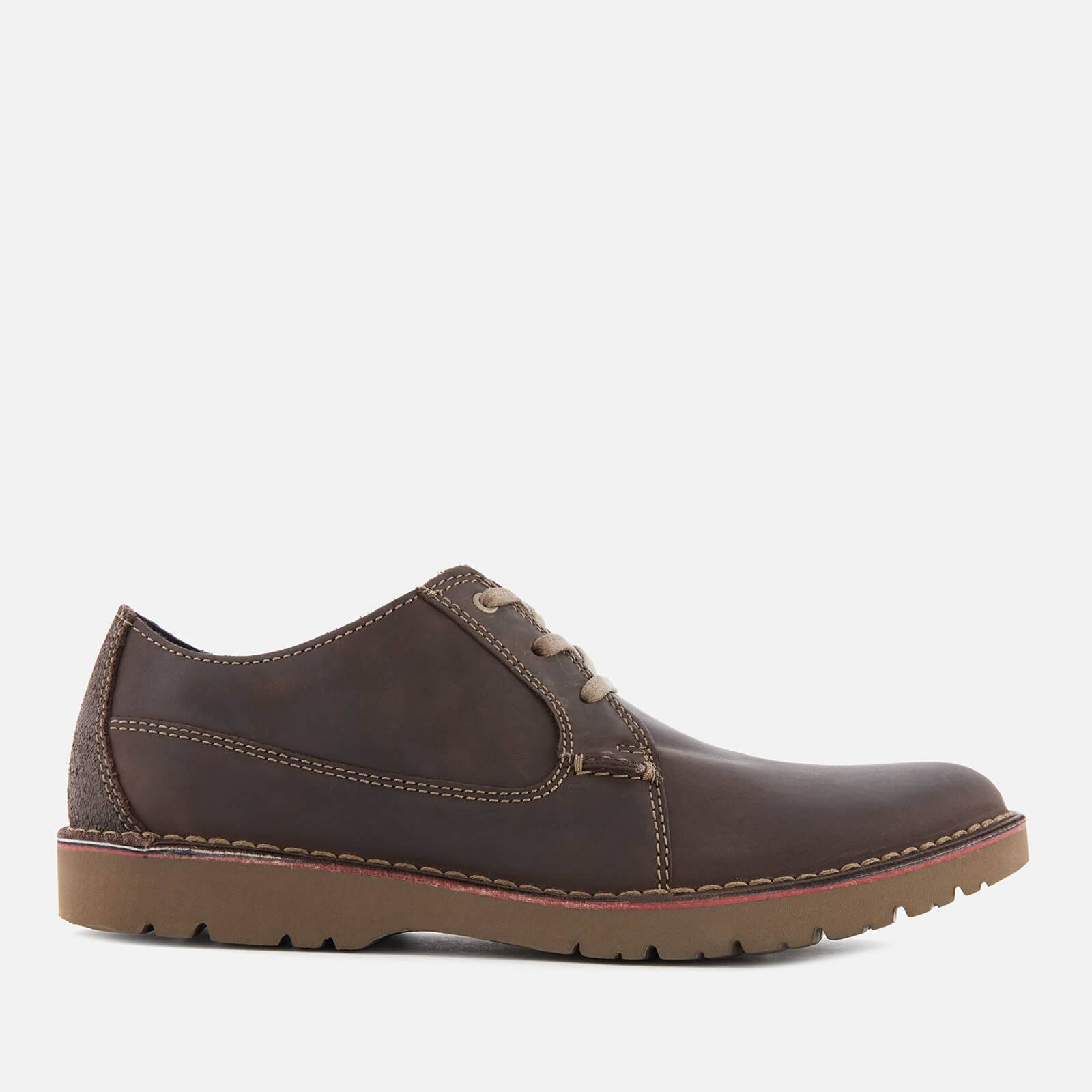 Clarks Men's Vargo Plain Leather Derby Shoes - Dark Brown - UK 8