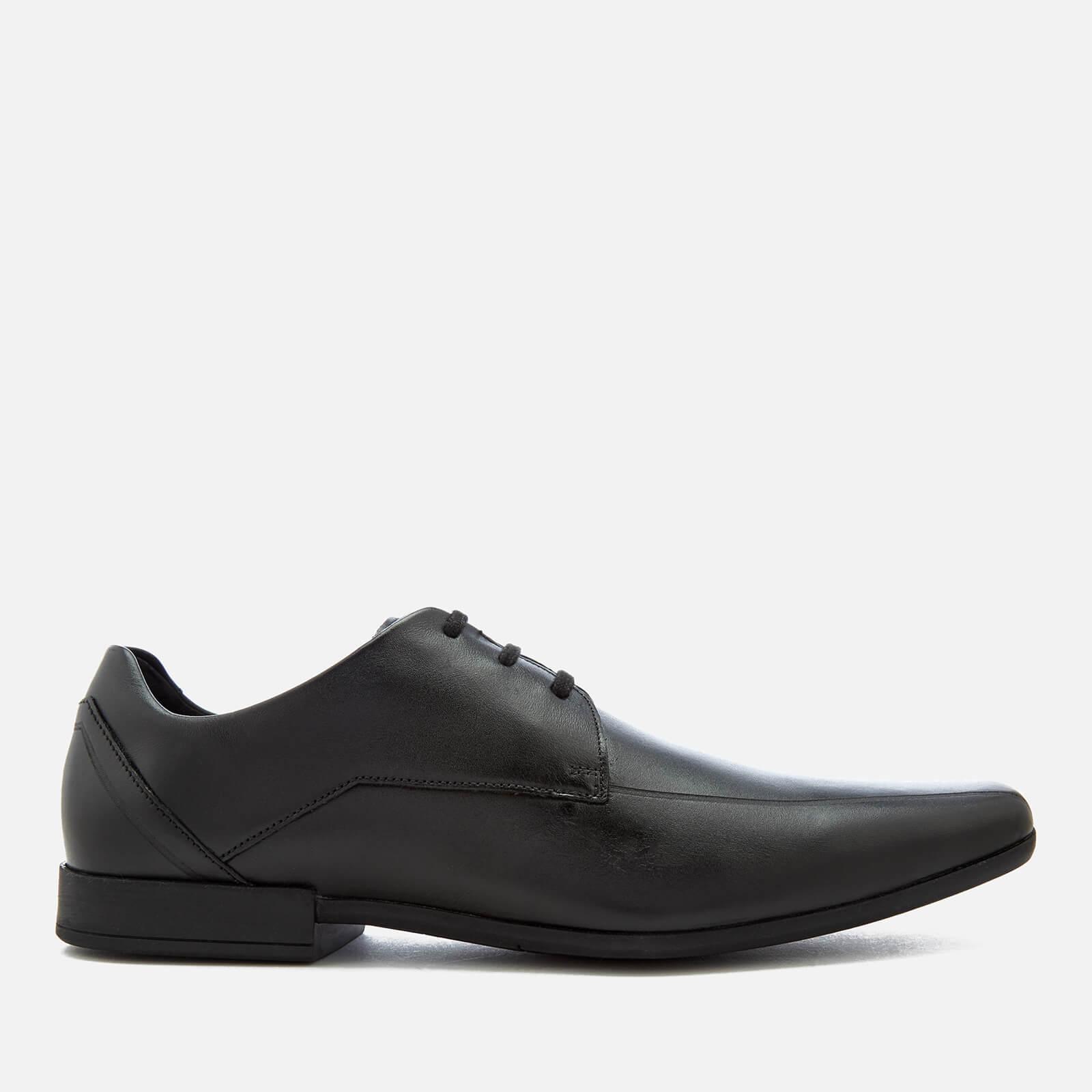 Clarks Men's Glement Over Leather Derby Shoes - Black - UK 11