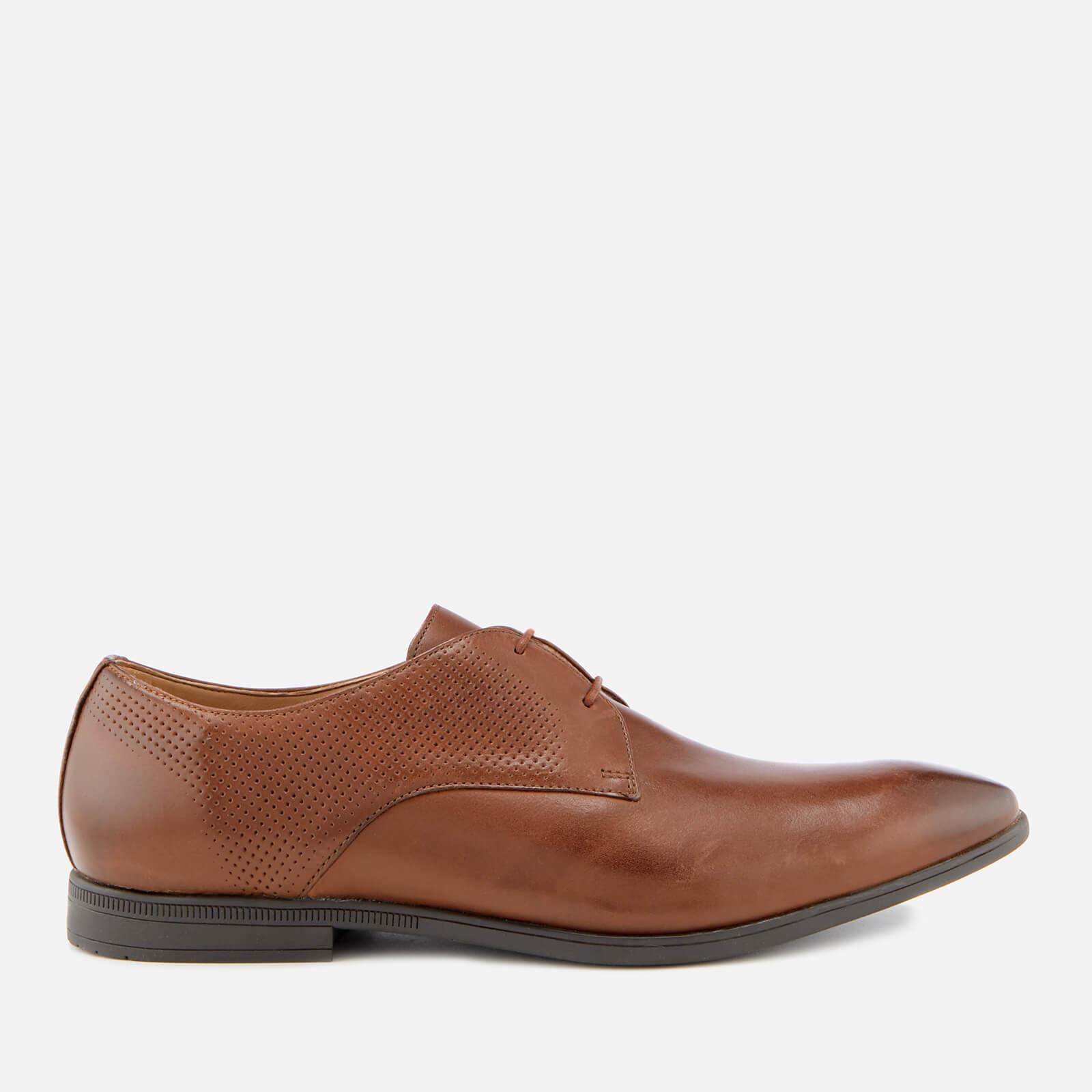 Clarks Men's Bampton Walk Leather Derby Shoes - British Tan - UK 9 - Tan/Brown