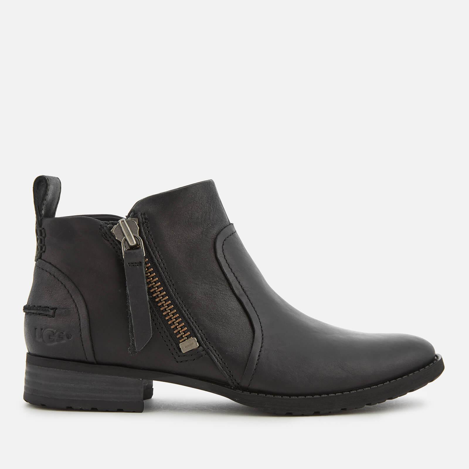 UGG Women's Aureo Full Grain Leather Flat Ankle Boots - Black - UK 4 - Black