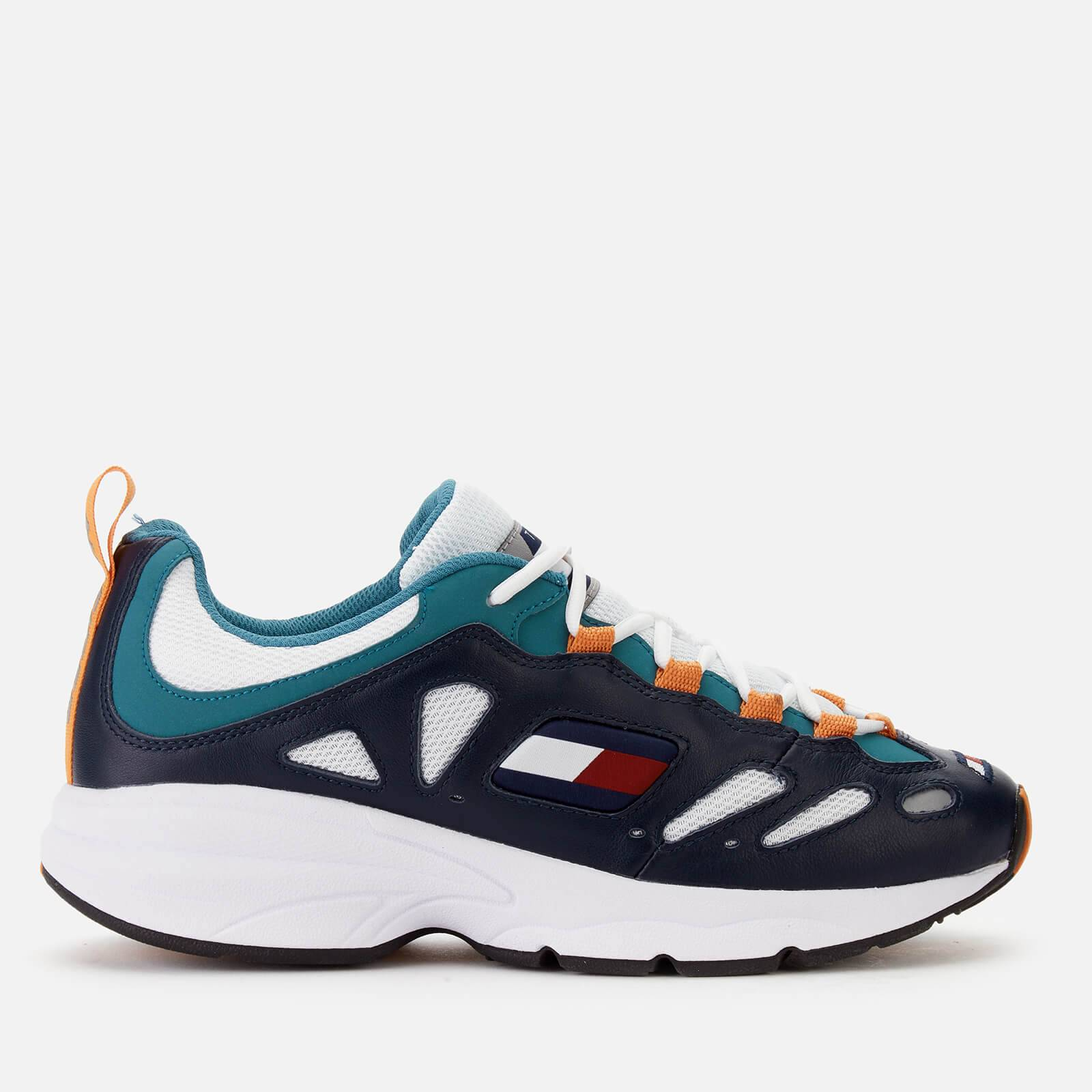 Tommy Jeans Men's Retro Chunky Runner Style Trainers - Blue/Russet/Orange - EU 45/UK 10.5 - Blue
