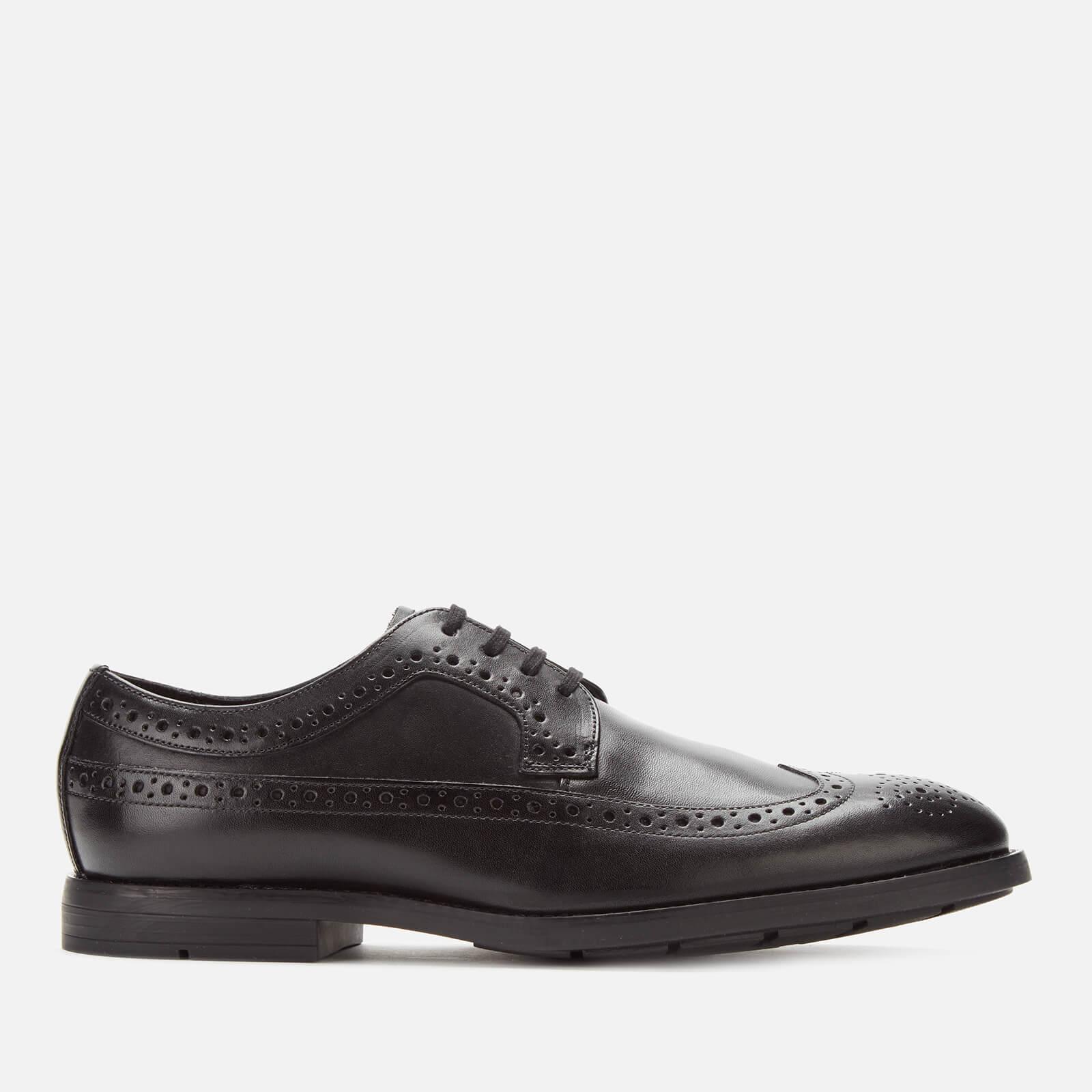 Clarks Men's Ronnie Limit Leather Derby Shoes - Black - UK 10