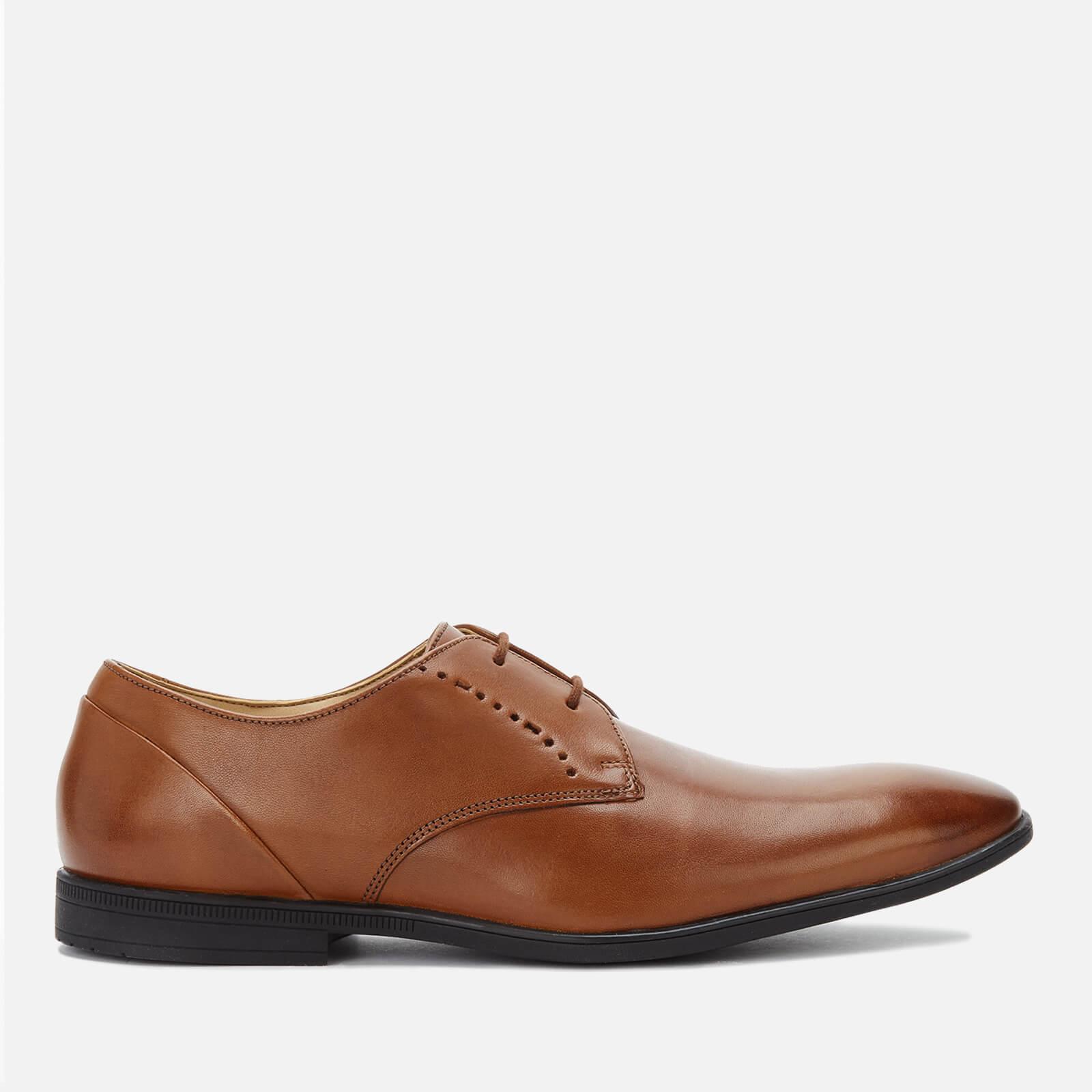 Clarks Men's Bampton Lace Leather Derby Shoes - Tan - UK 9