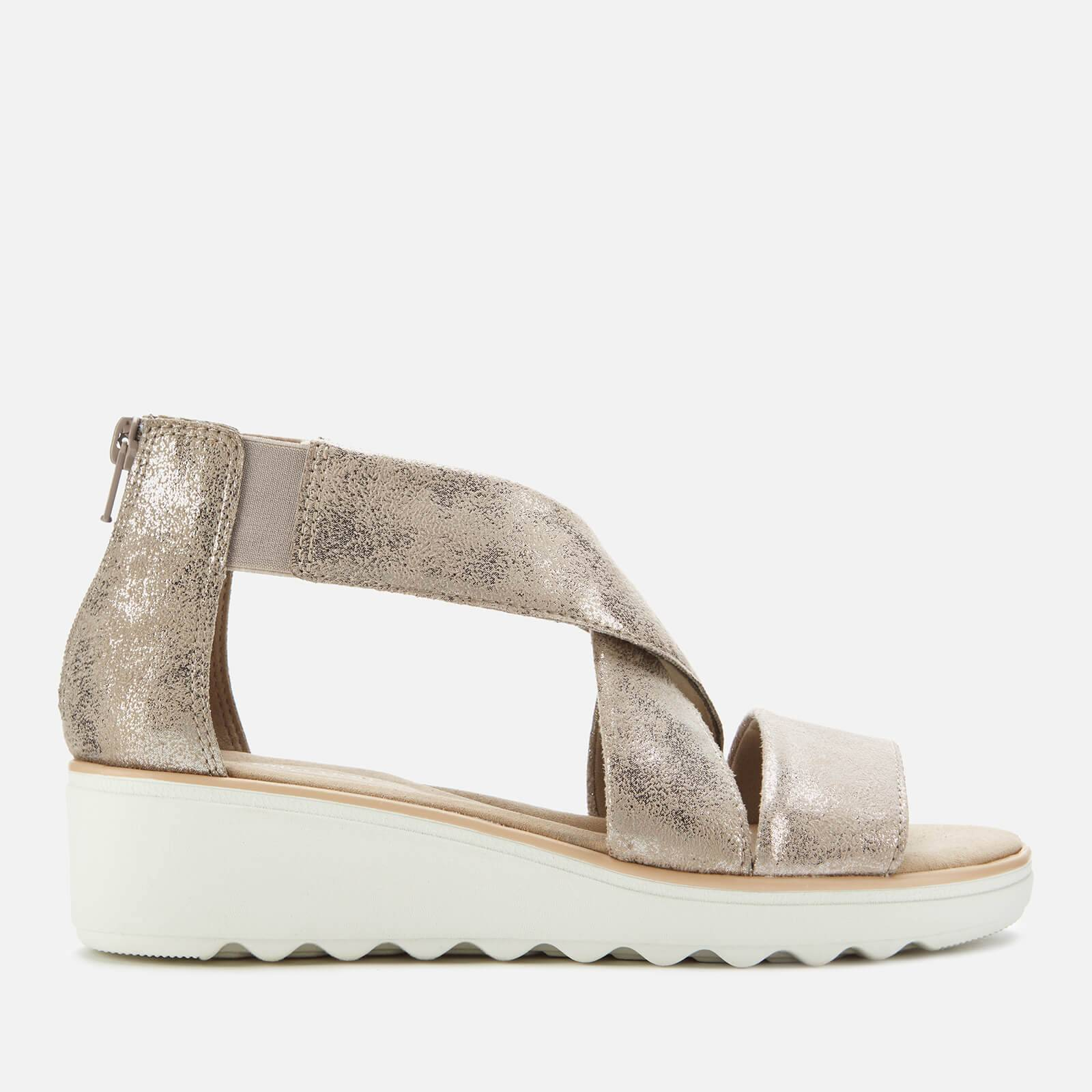 Clarks Women's Jillian Rise Wedged Sandals - Pewter - UK 7
