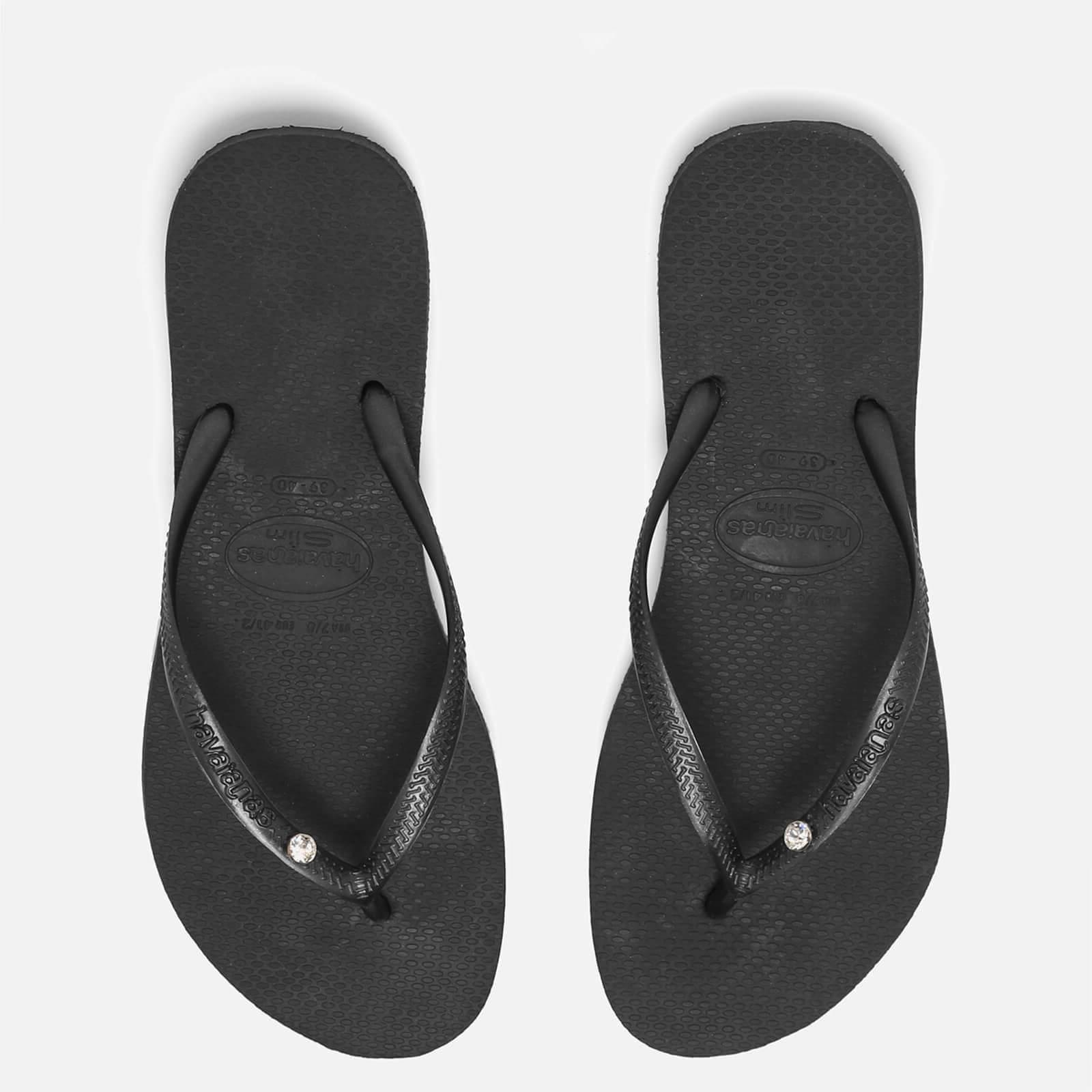 Havaianas Women's Slim Swarovski Crystal Glamour Flip Flops - Black - EU 41-42/UK 8-9 - Black