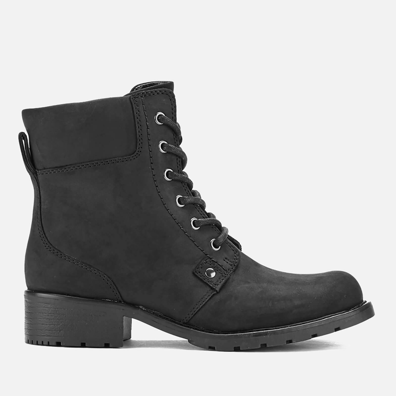 Clarks Women's Orinoco Spice Leather Lace Up Boots - Black - UK 5