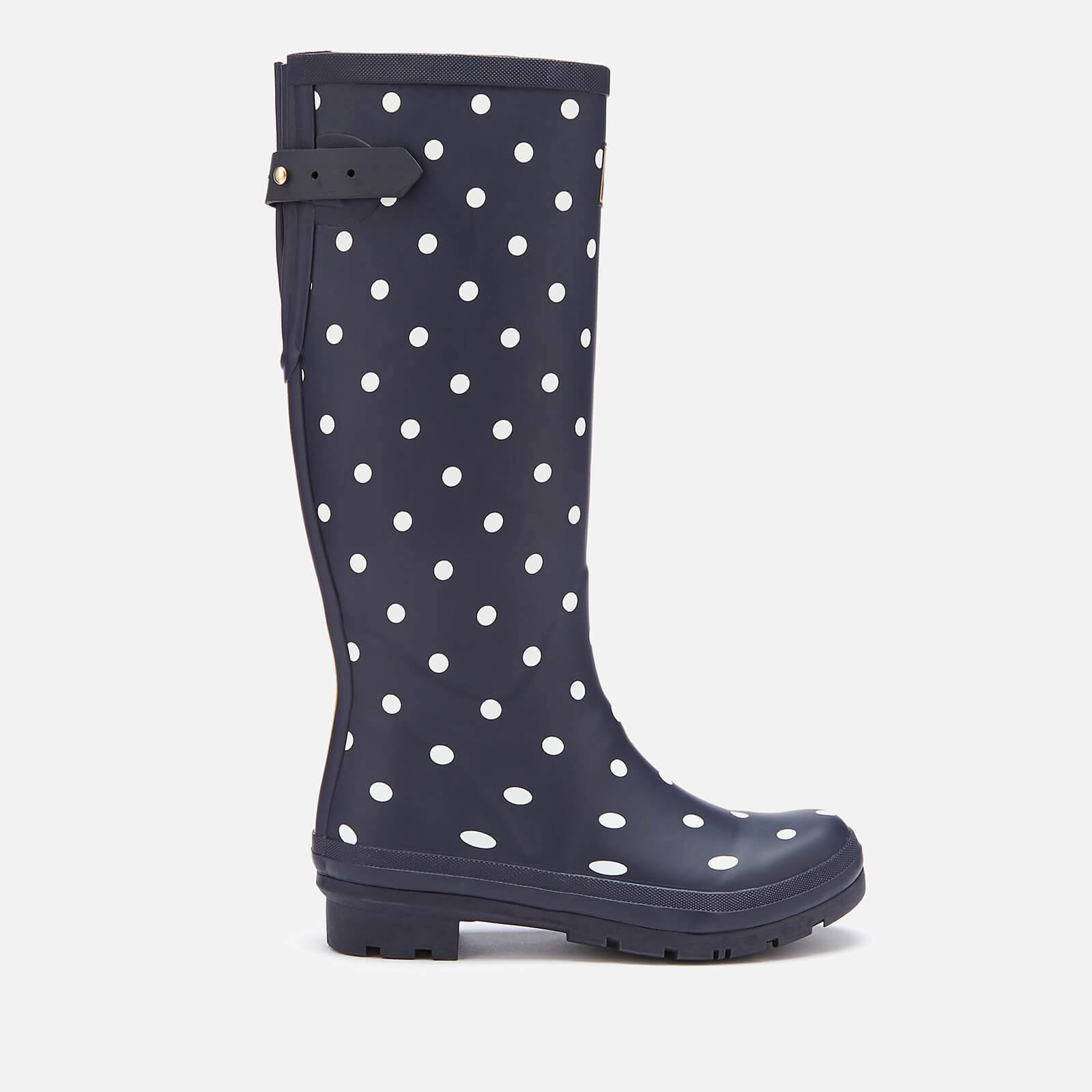 Joules Women's Welly Print Back Adjustable Tall Wellies - French Navy Spot - UK 3