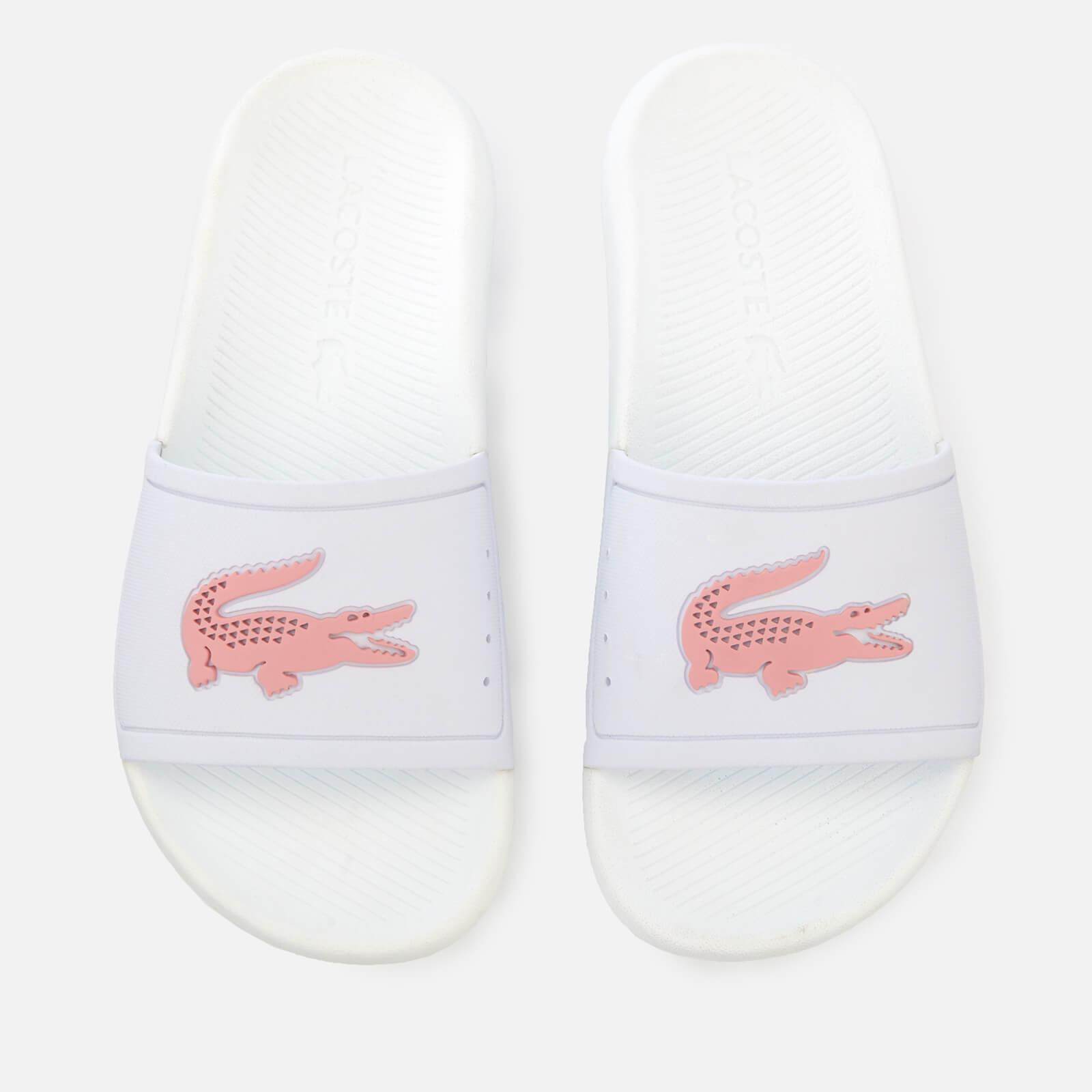 Lacoste Women's Croco Slide 119 3 Sandals - White/Light Pink - UK 8 - White/Pink