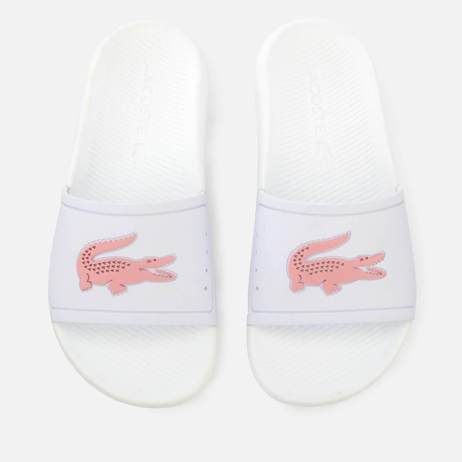 Lacoste Women's Croco Slide 119 3 Sandals - White/Light Pink - UK 5 - White/Pink