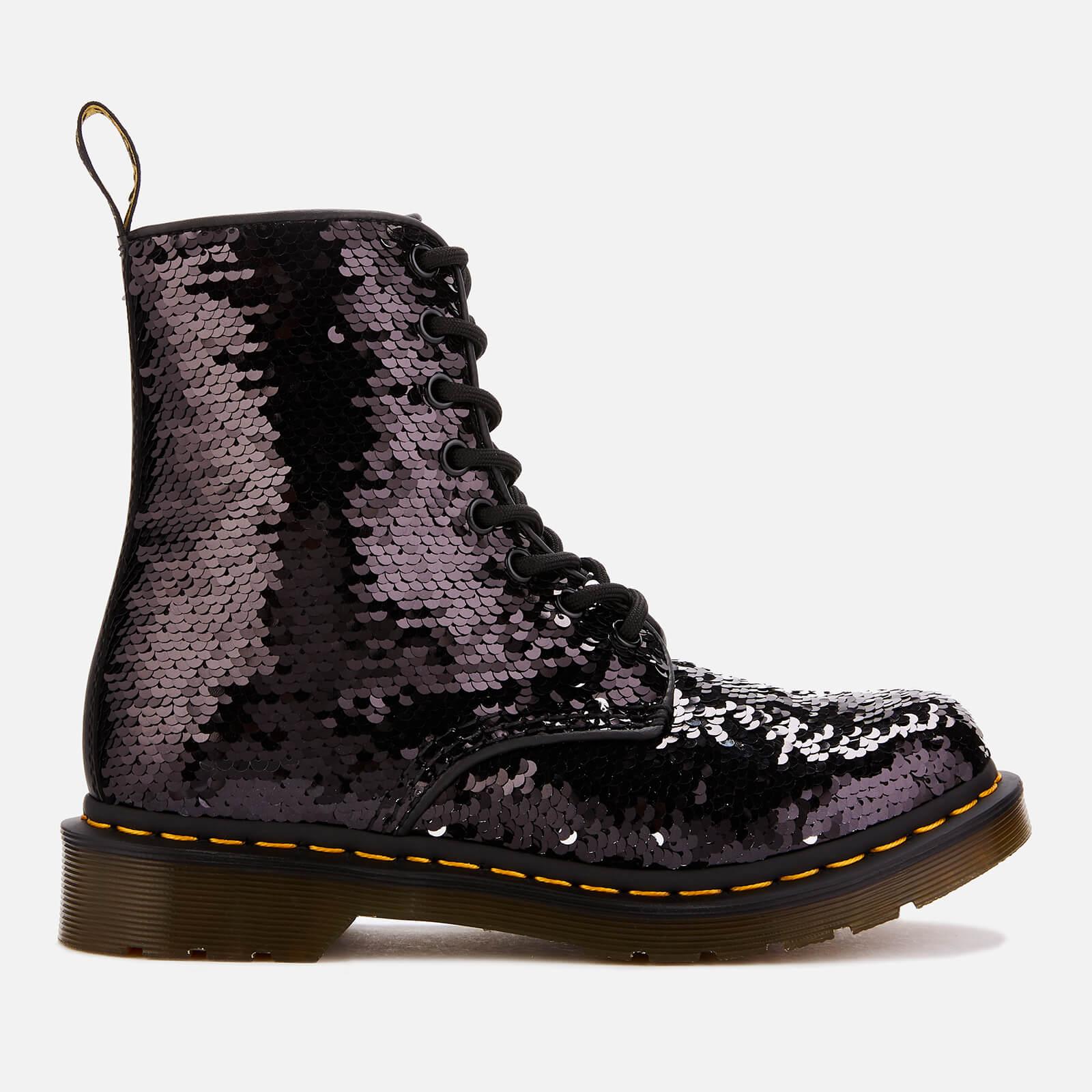 Dr. Martens Women's 1460 Sequin Pascal 8-Eye Boots - Black/Silver - UK 5 - Black