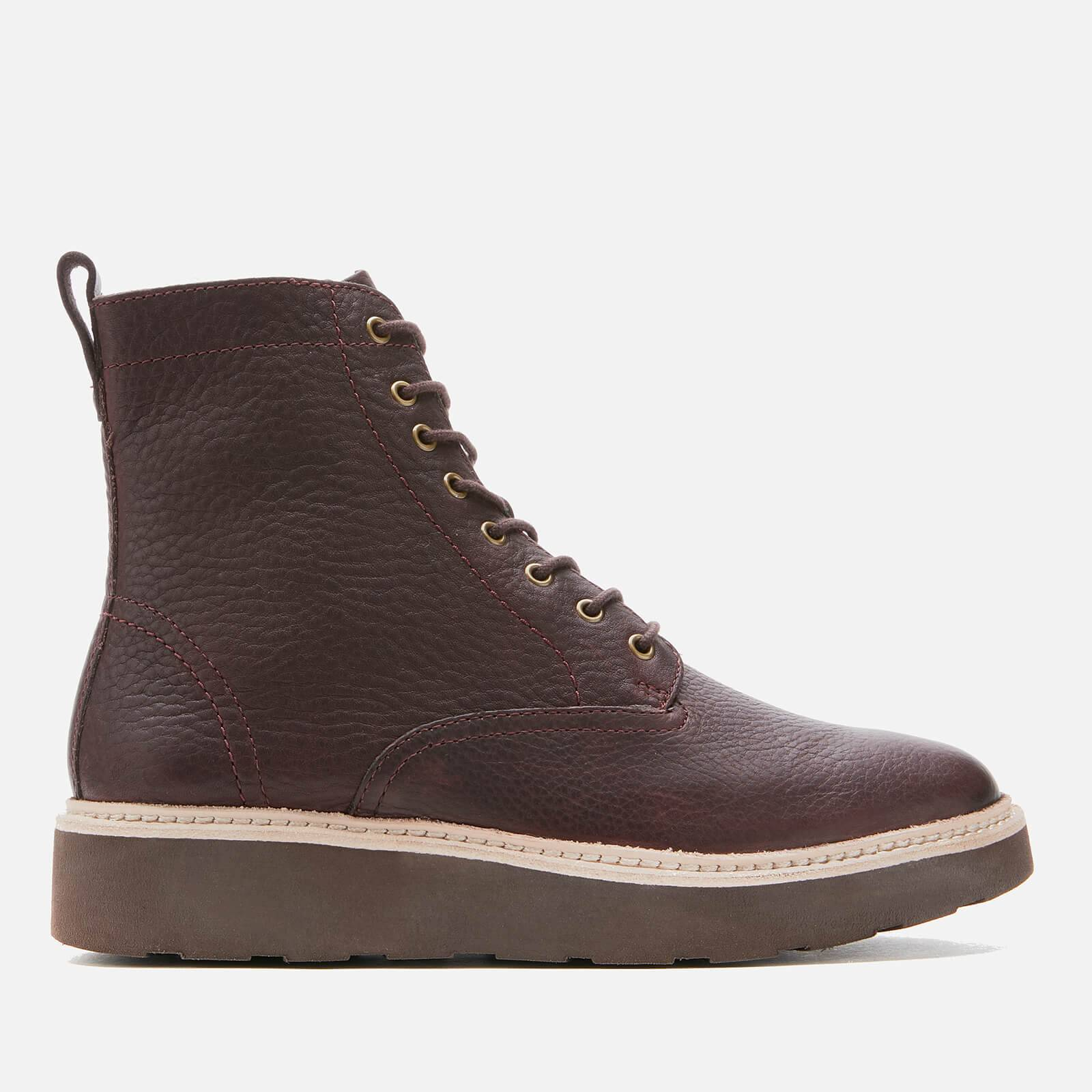 Clarks Women's Trace Pine Leather Lace Up Boots - Burgundy - UK 5