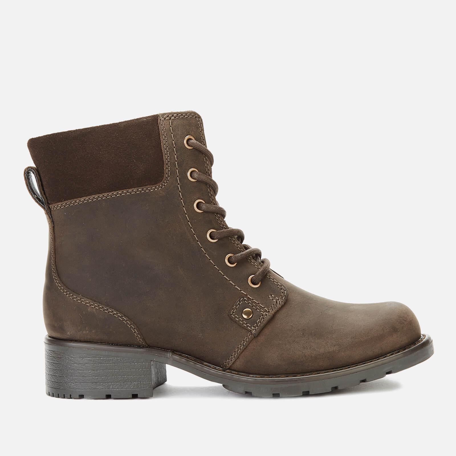 Clarks Women's Orinoco Spice Nubuck Lace Up Boots - Dark Brown - UK 5