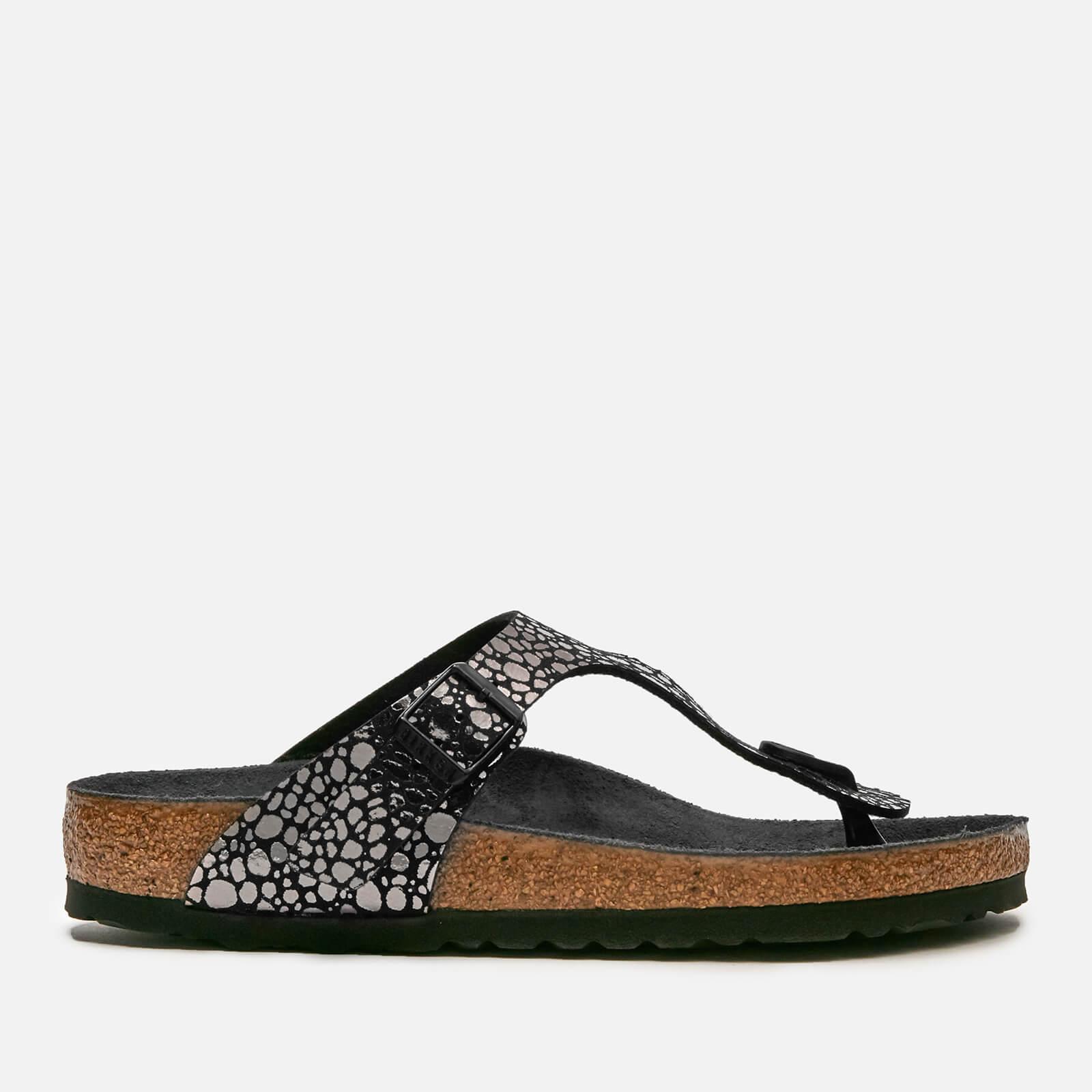 Birkenstock Women's Gizeh Toe-Post Leather Sandals - Metallic Stones Black - UK 7.5 - Black