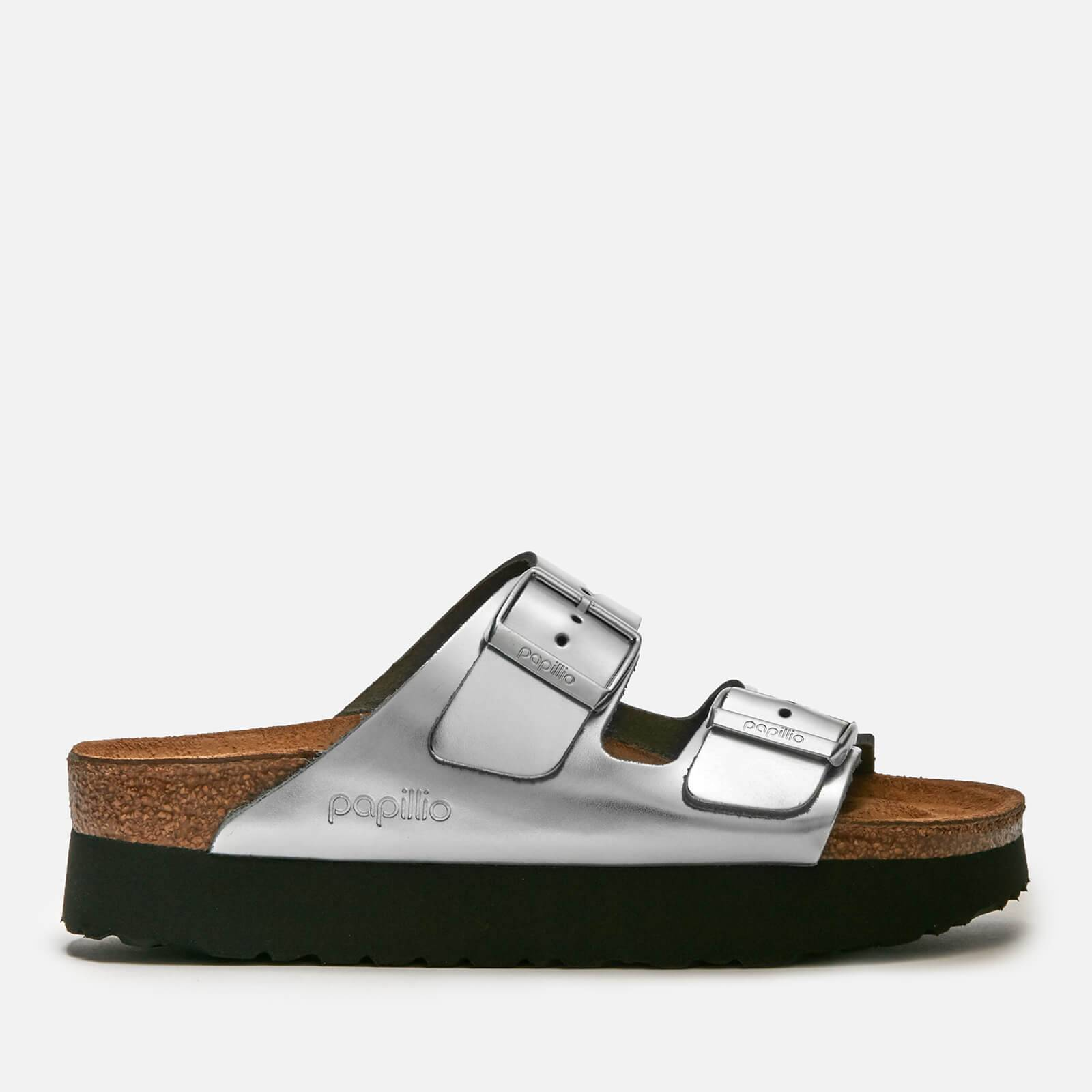 Birkenstock Papillio Women's Arizona Metallic Platform Double Strap Sandals - Silver - UK 7.5 - Silver