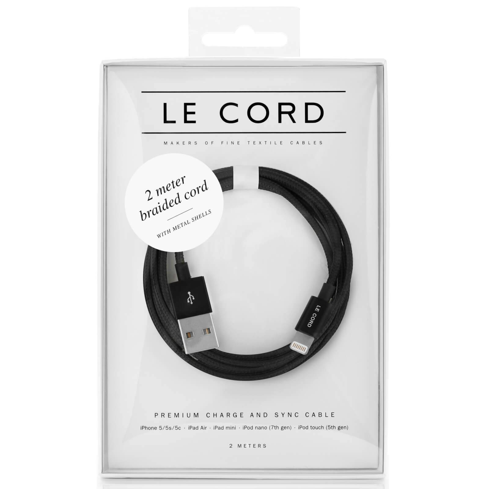 Le Cord Black Textile Lightning Cable (2m)