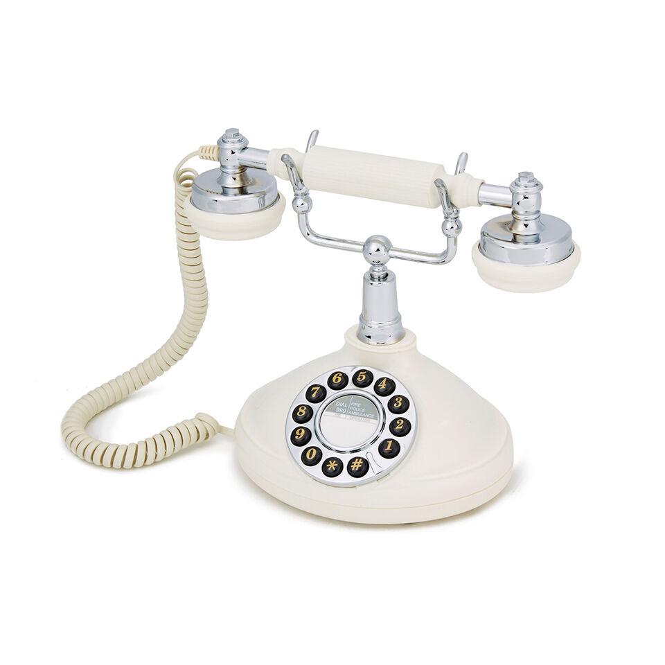 GPO Retro Opal Push Button Telephone - Cream/Chrome