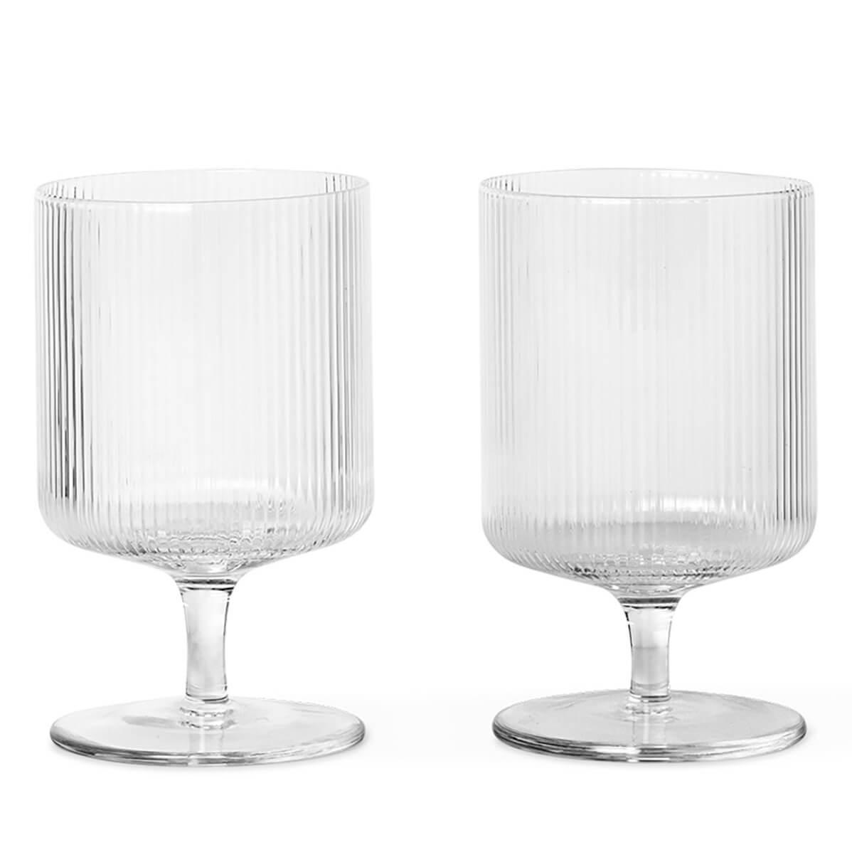 Ferm Living Ripple Wine Glasses - Clear (Set of 2)
