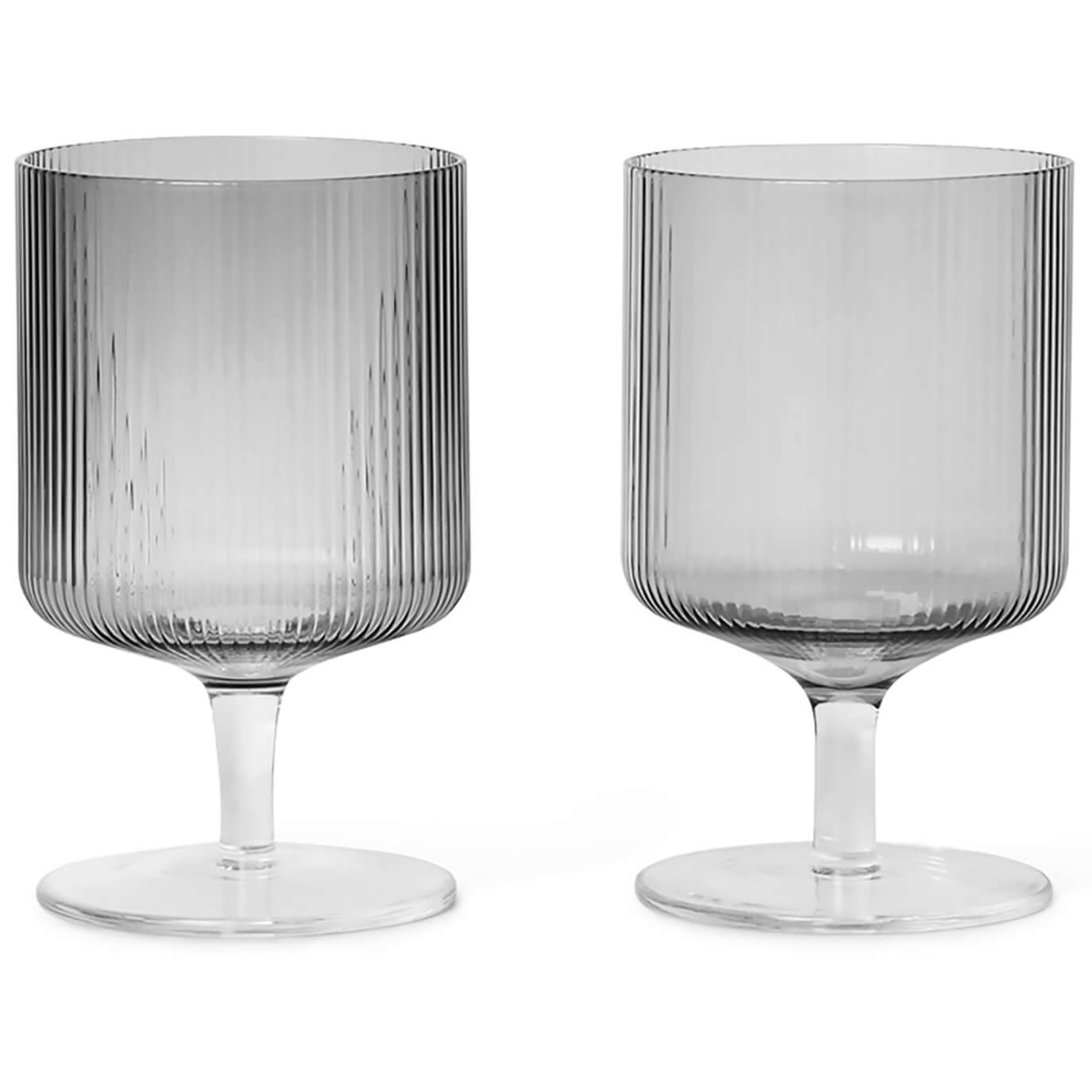Ferm Living Ripple Wine Glasses - Smoked Grey (Set of 2)