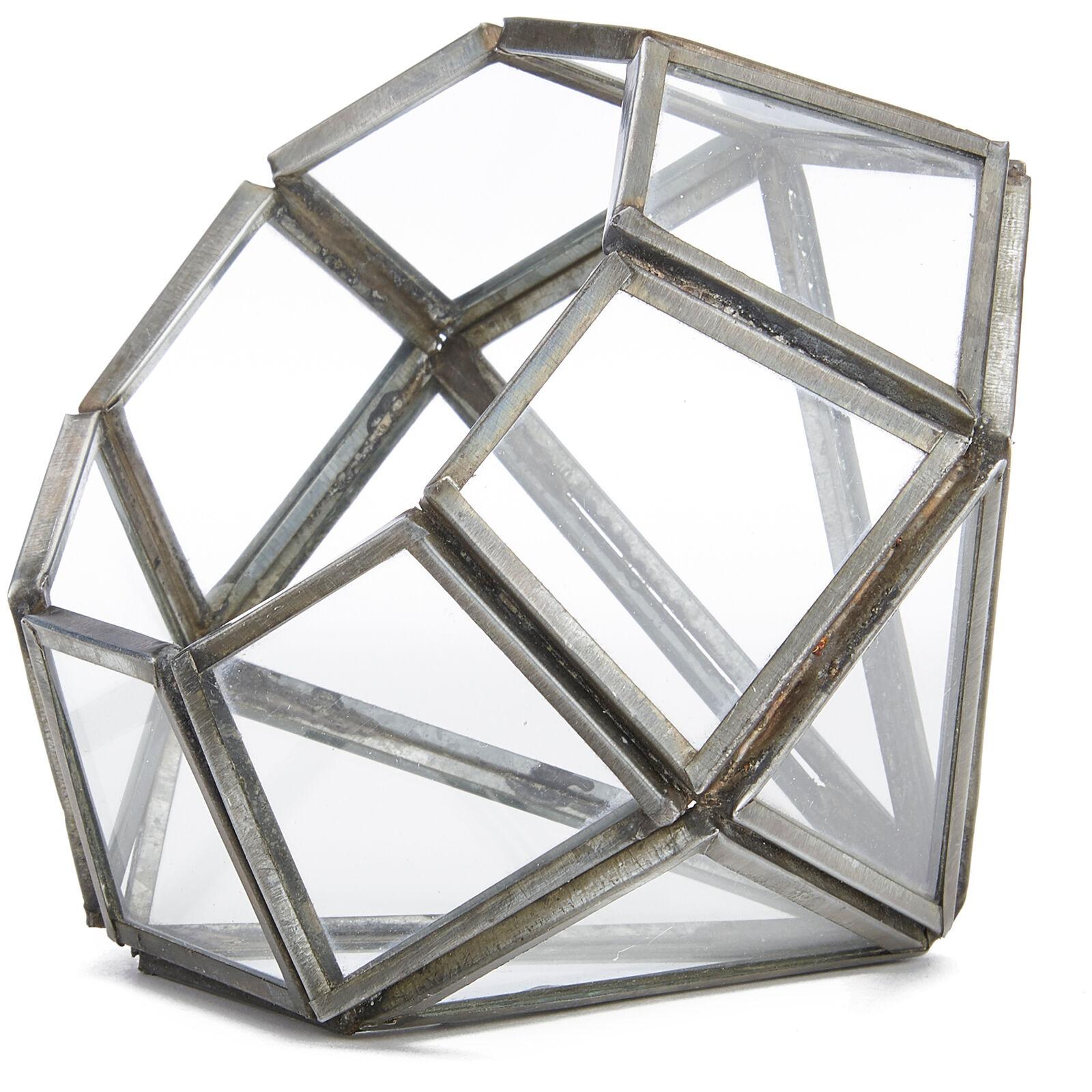 Nkuku Aketa Glass Planter - Antique Zinc - Pointed