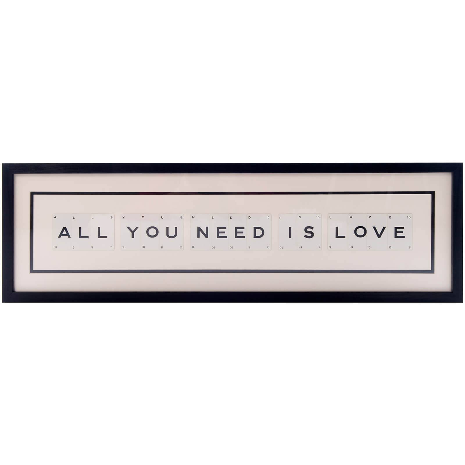 Vintage Playing Cards All You Need is Love Framed Wall Art