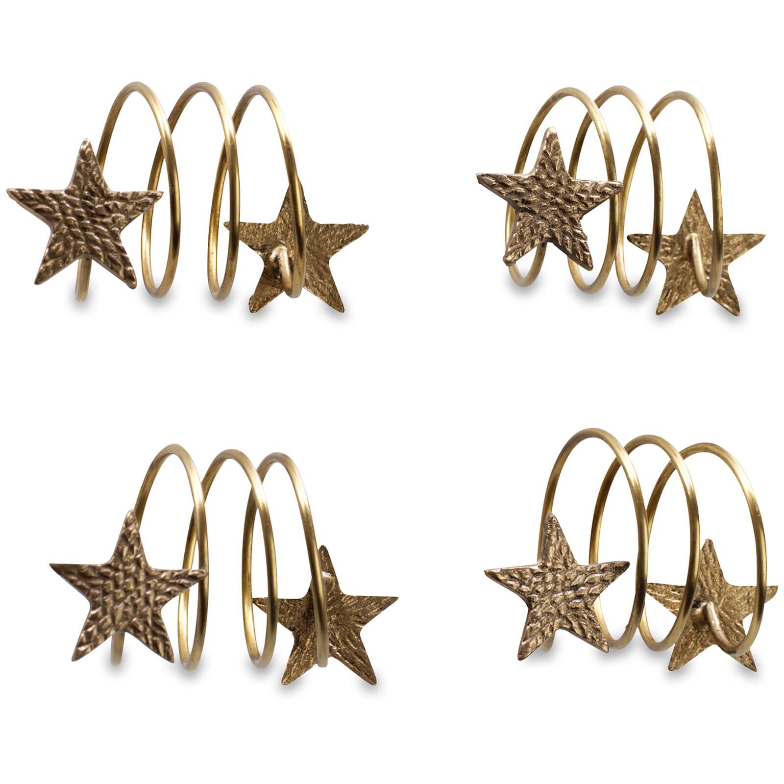 Nkuku Star Napkin Rings - Antique Brass (Set of 4)