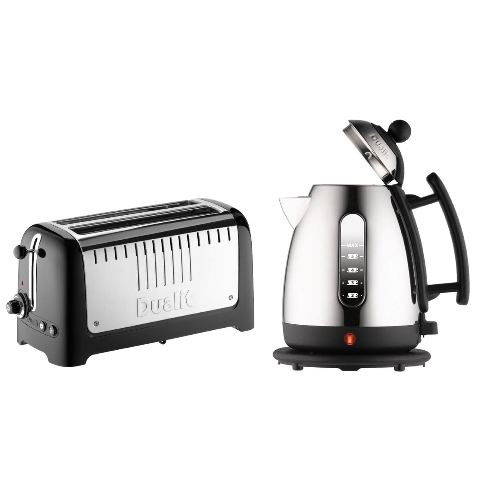 Dualit Jug Kettle and 4 Slice Long Slot Toaster Bundle - Black