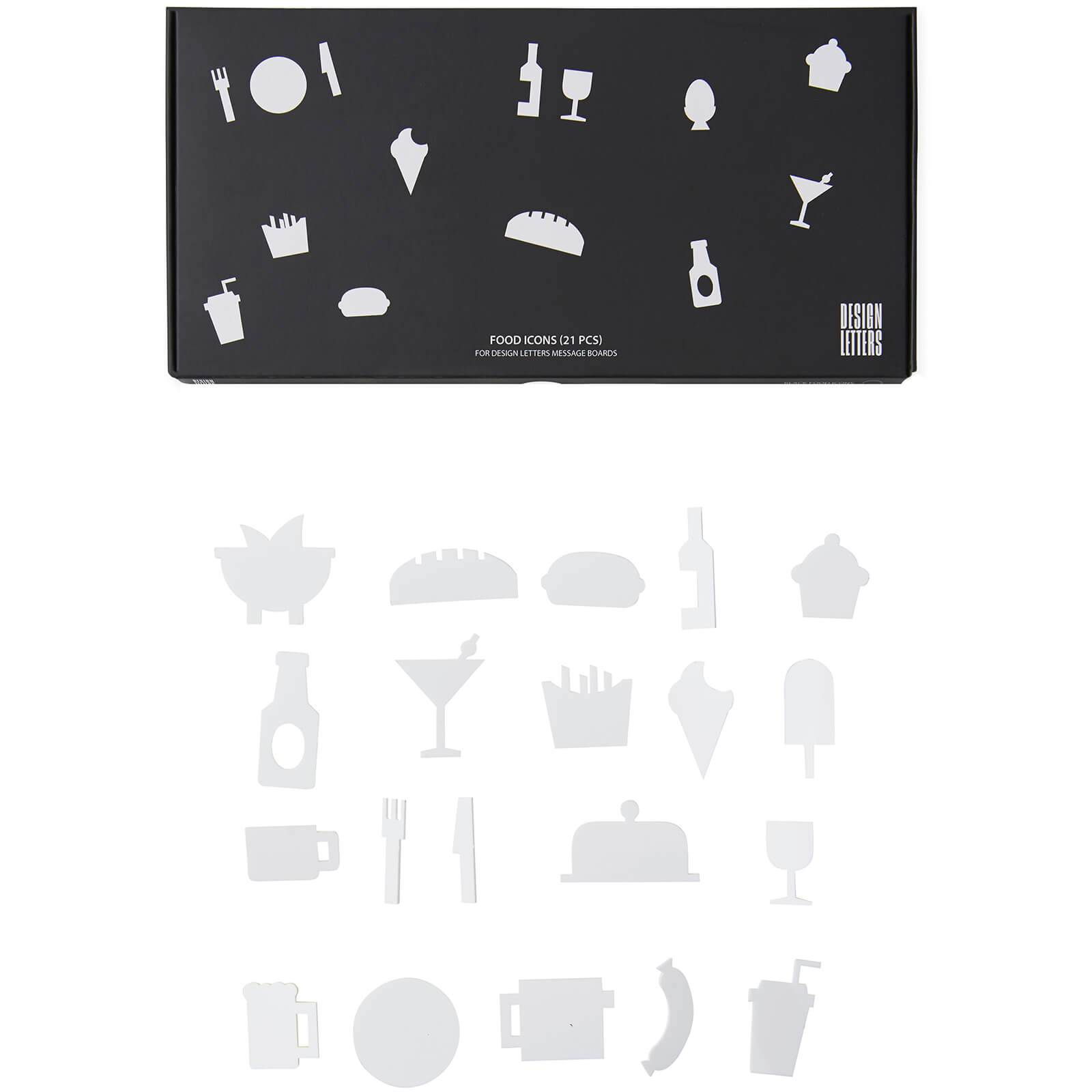 Design Letters Party Icons for Message Board - White