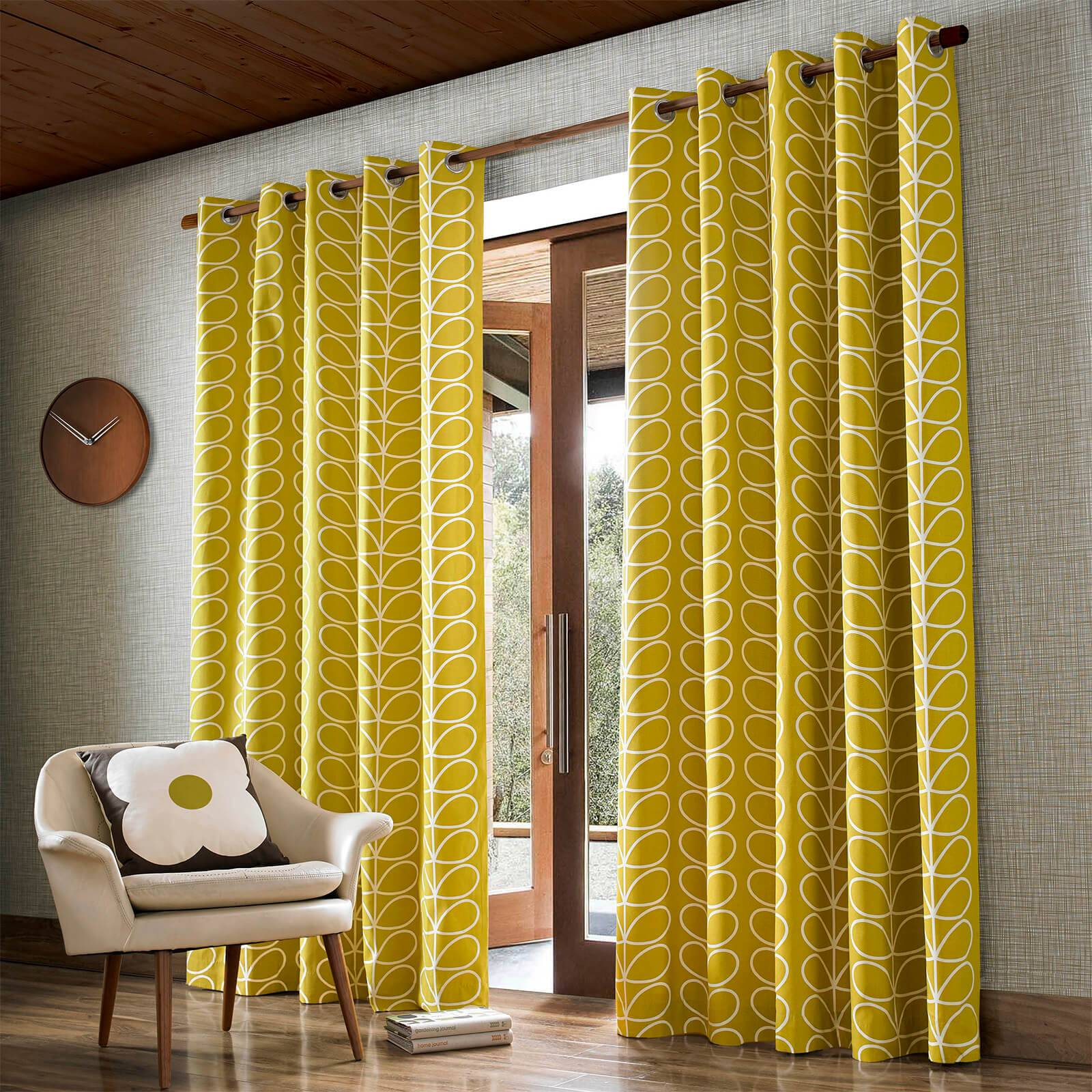 Orla Kiely Linear Stem Curtains - Dandelion - 90 x 72 Inches