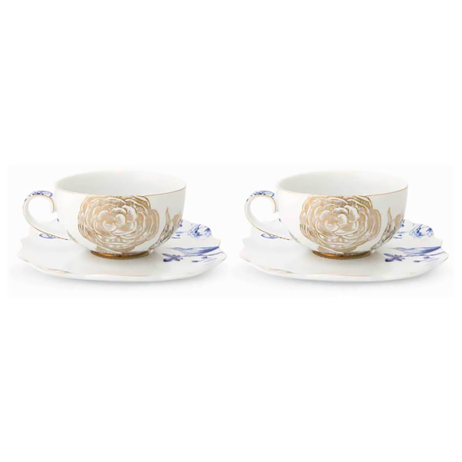 Pip Studio Royal Tea Cups and Saucers - White (Set of 2)