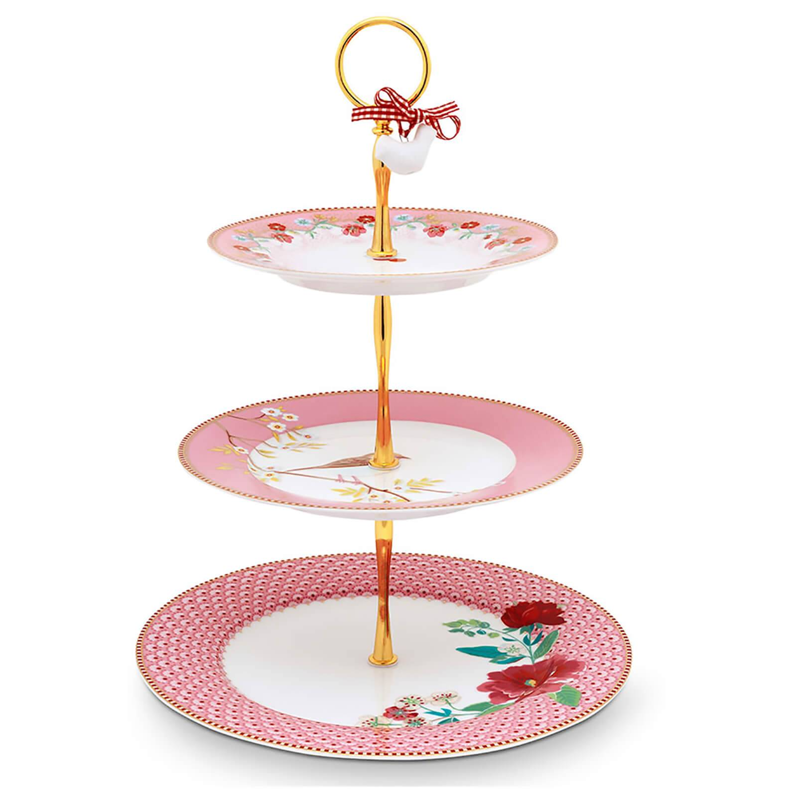Pip Studio 3 Tier Floral Cake Stand - Pink