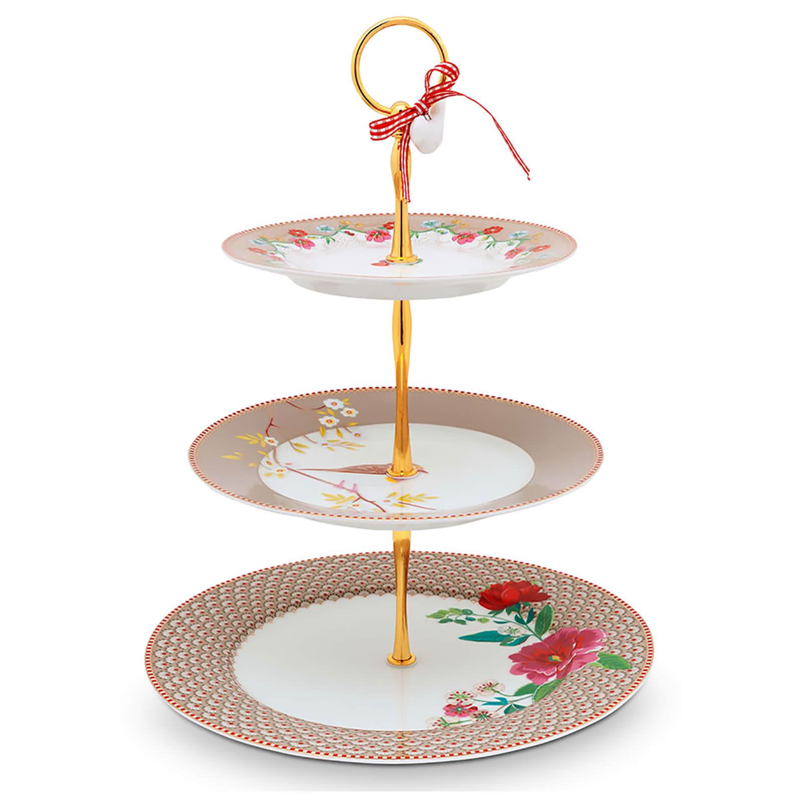 Pip Studio 3 Tier Floral Cake Stand - Khaki